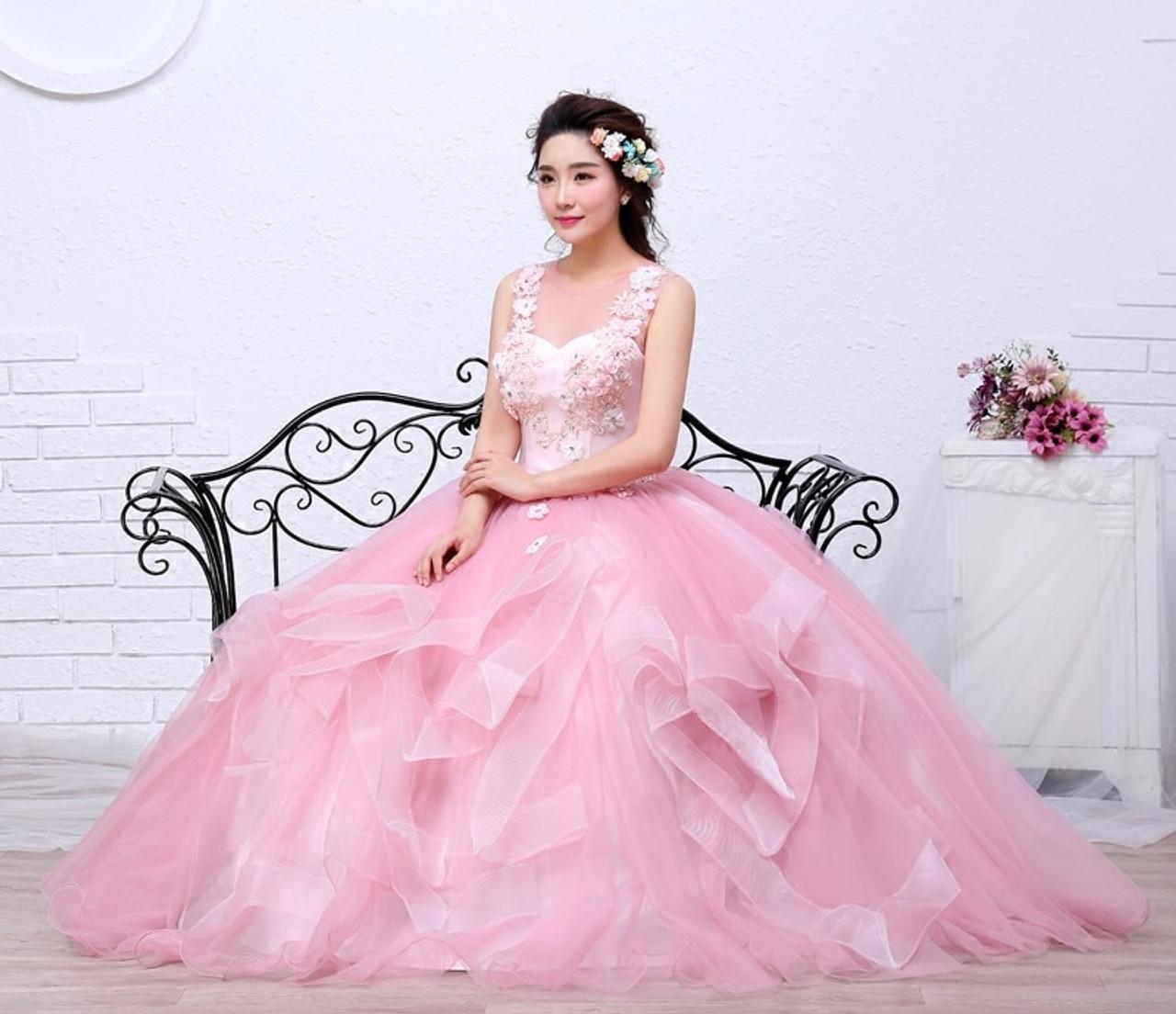 ... Free shippin Pink Color Yarn Girls Wedding dress 2017 New Fashion  Simple Female Art Exam Gowns ... 85c4337d4ffd