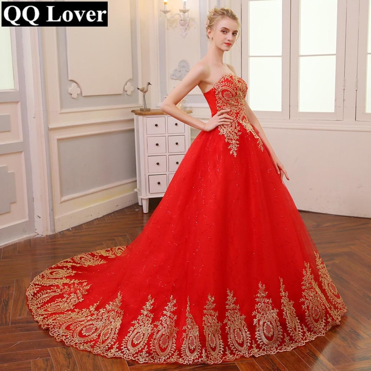 0472658cb00 QQ Lover 2019 Vintage Lace Red Wedding Dresses Plus Size Ball Gown Robe de  Mariee Vestido De Noiva - OnshopDeals.Com