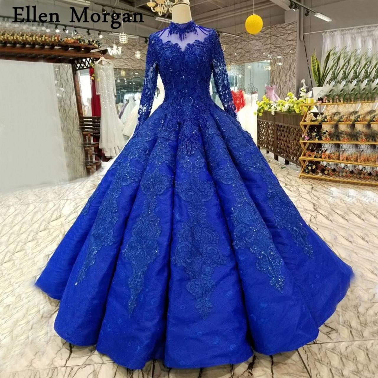Royal Blue Long Sleeves Wedding Dresses