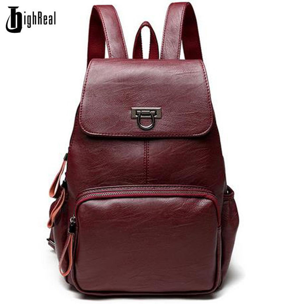 Designer Women s Backpacks Genuine Leather Female Backpack Women School Bag  For Girls Large Capacity Shoulder Travel Mochila - OnshopDeals.Com 39893696fd