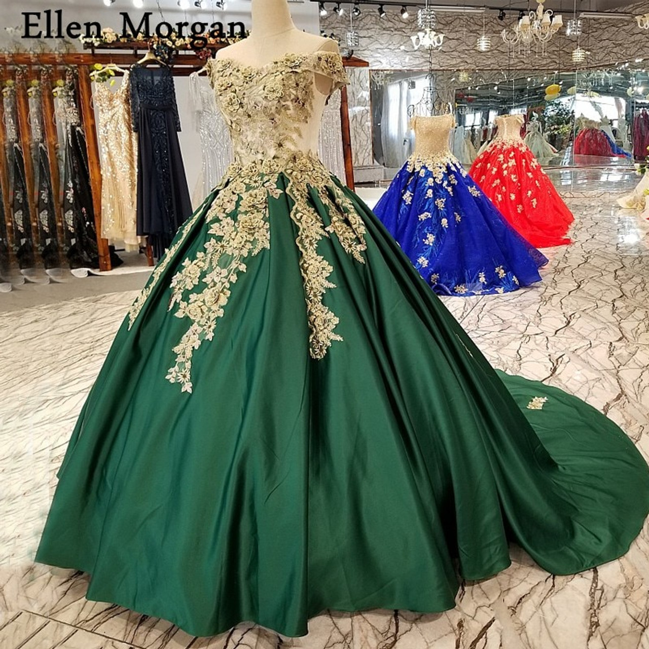201c6bb5562c7 Dark Green Satin Ball Gowns Wedding Dresses 3D Flowers Lace Pearls for  Women Garden Real Photos Puffy Long Bridal Gowns 2018