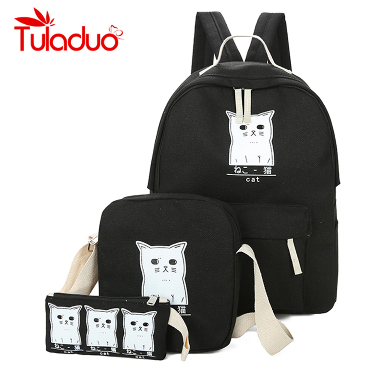 ab1a1db14458 Women Backpack Cat Printing Canvas School Bags For Teenager Girls Preppy  Style 3 Set PC Rucksack Cute Book Bag Mochila Feminina - OnshopDeals.Com