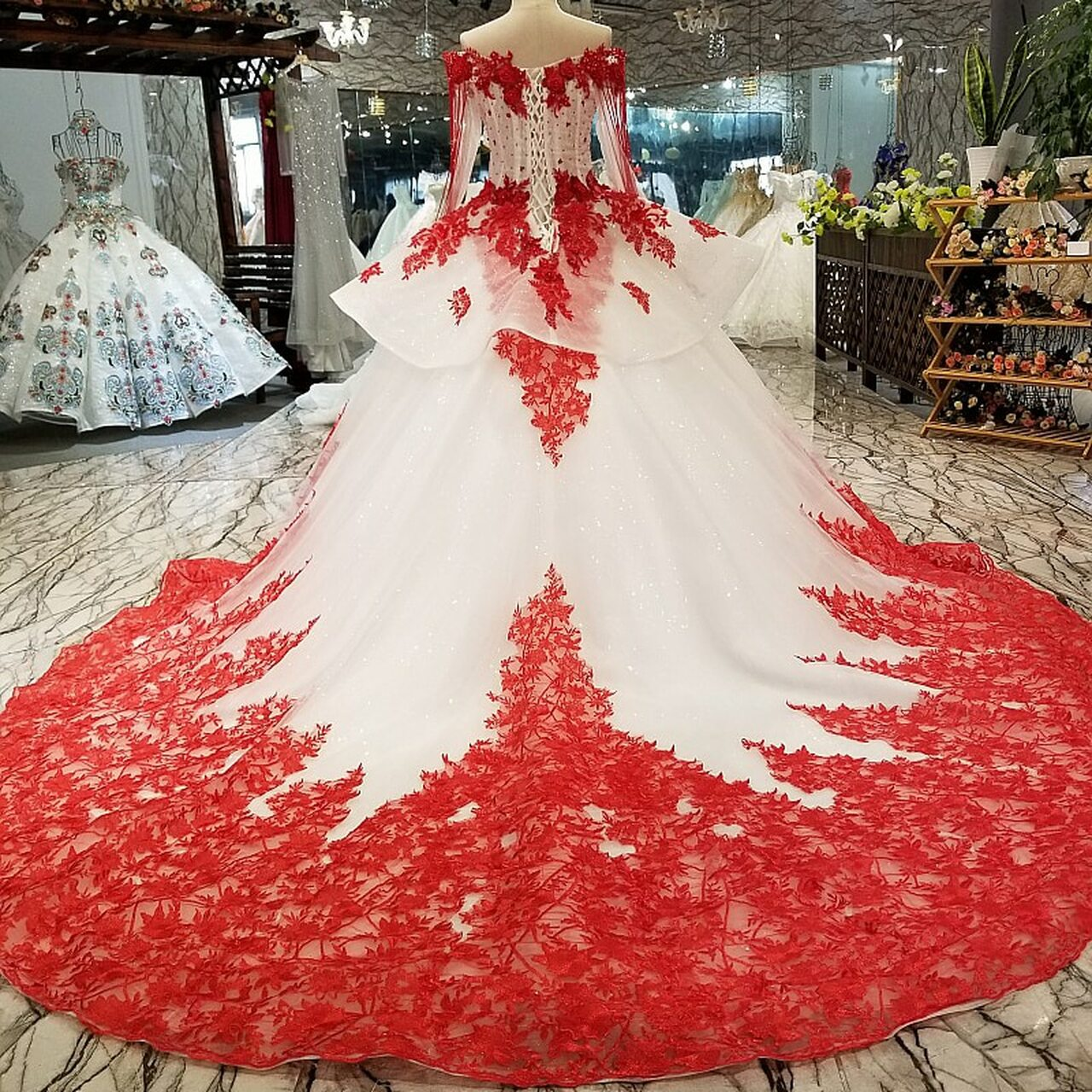 Axjfu White Lace Princess Red Flower Beading Crystal Ruffles