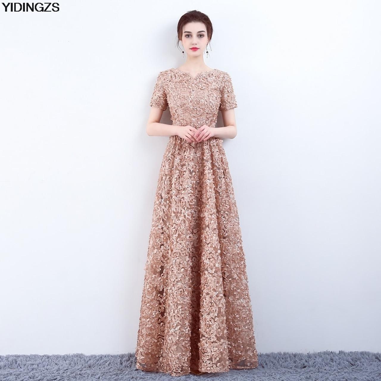YIDINGZS Elegant Khaki Lace Evening Dress Simple Floor-length Prom Dress  Party Formal Gown - OnshopDeals.Com c3d43d4926a0