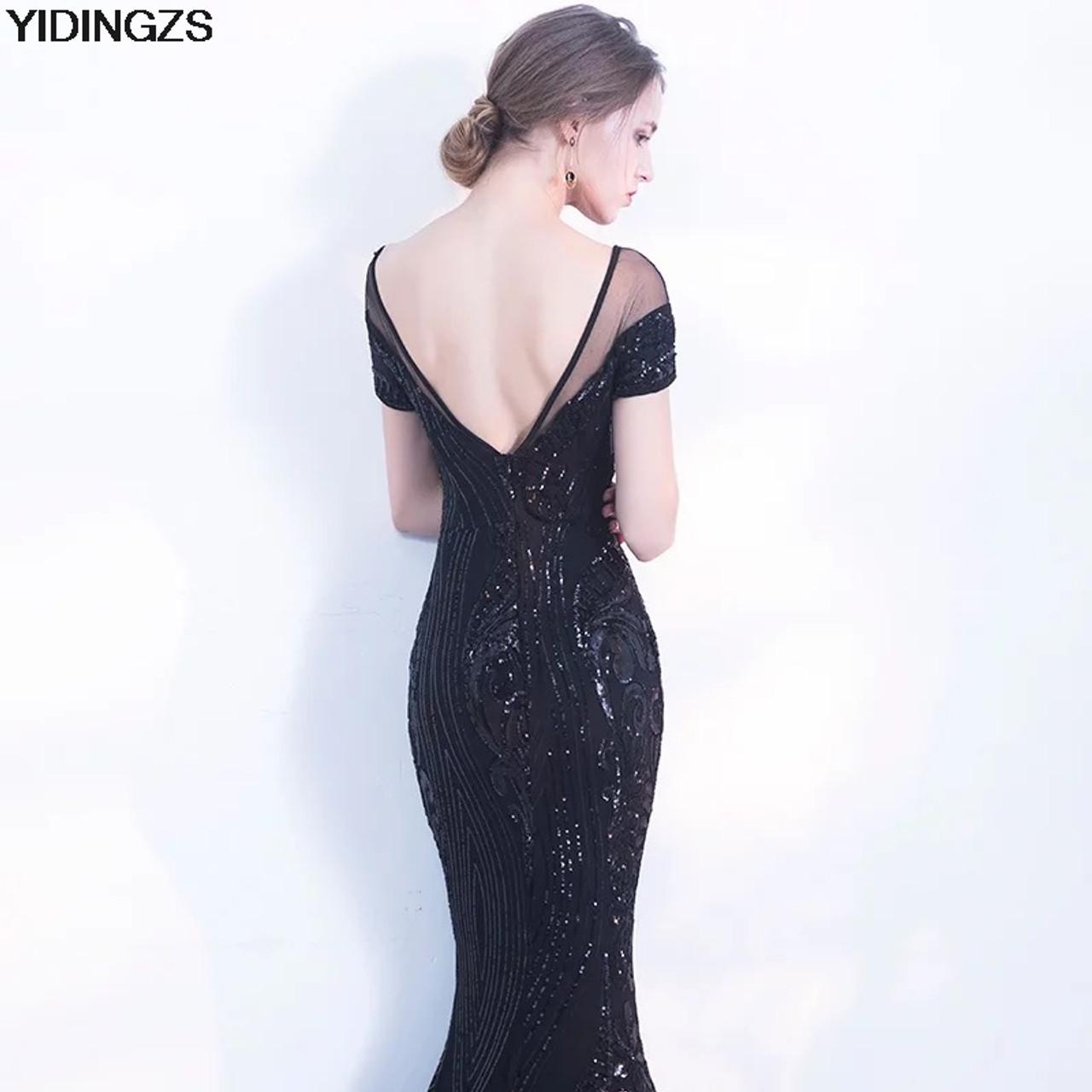 ... YIDINGZS Elegant Backless Long Evening Dress Mermaid Black Party  Sequins Maxi Dress ... b7d17346919e