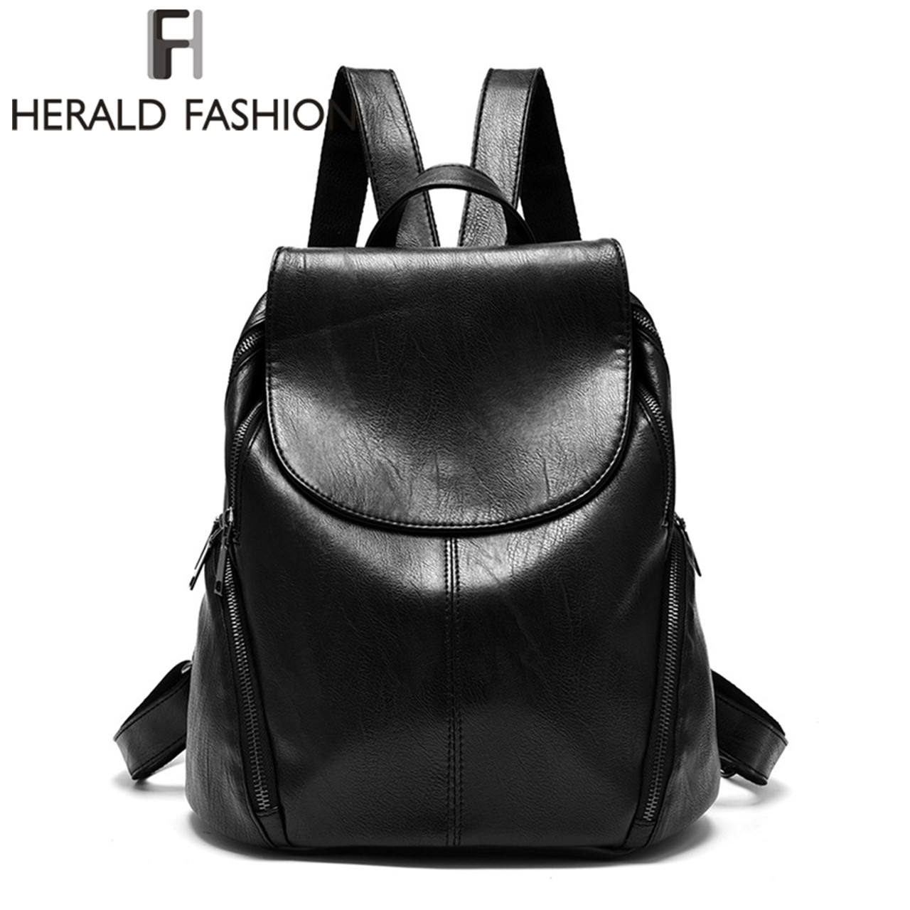 75a9ea3492 Herald Fashion Backpacks for Teenage Girls Women s PU Leather Backpack  School Bag Casual Vintage Large Capacity ...
