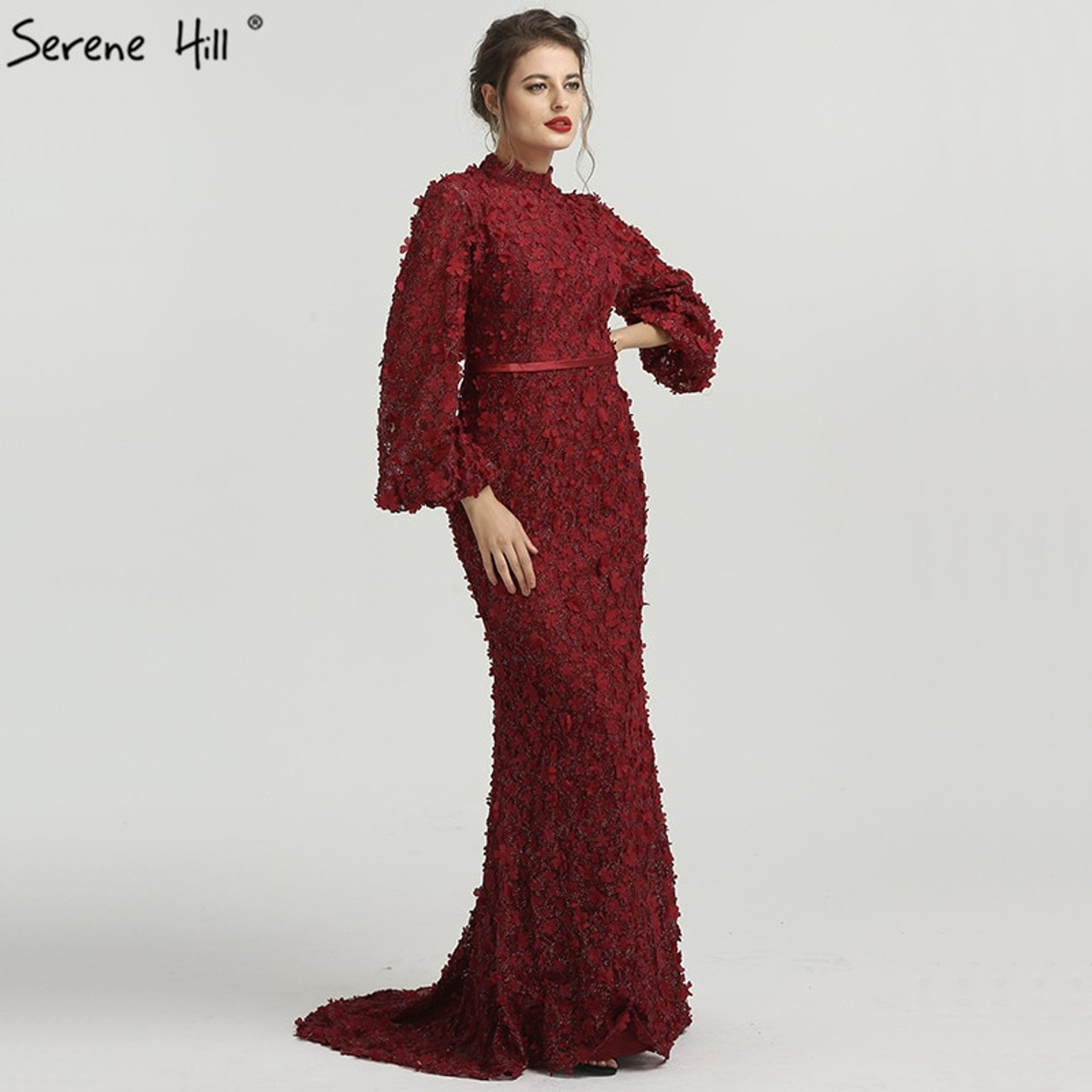 8c13007df3 ... Flowers Pearls Long Sleeves Mermaid Evening Dresses Muslim Fashion  Elegant Tulle Evening Gowns 2019 Serene Hill ...