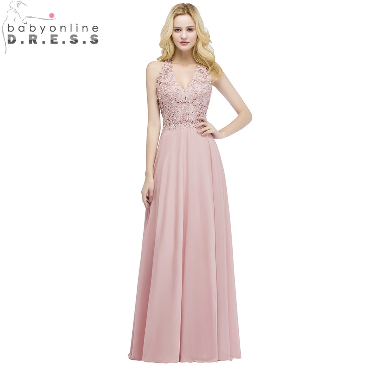 fa26594bc7 Babyonlinedress Sexy V Neck Pink Lace Chiffon Long Evening Dress Elegant  Sleeveless Evening Gowns with Pearls Abendkleid