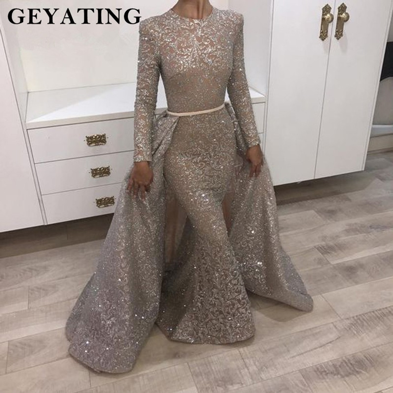 098410e4dada Yousef Aljasmi Long Sleeve Evening Dress 2018 Muslim Detachable Train Women  Formal Evening Gowns Dubai Long ...