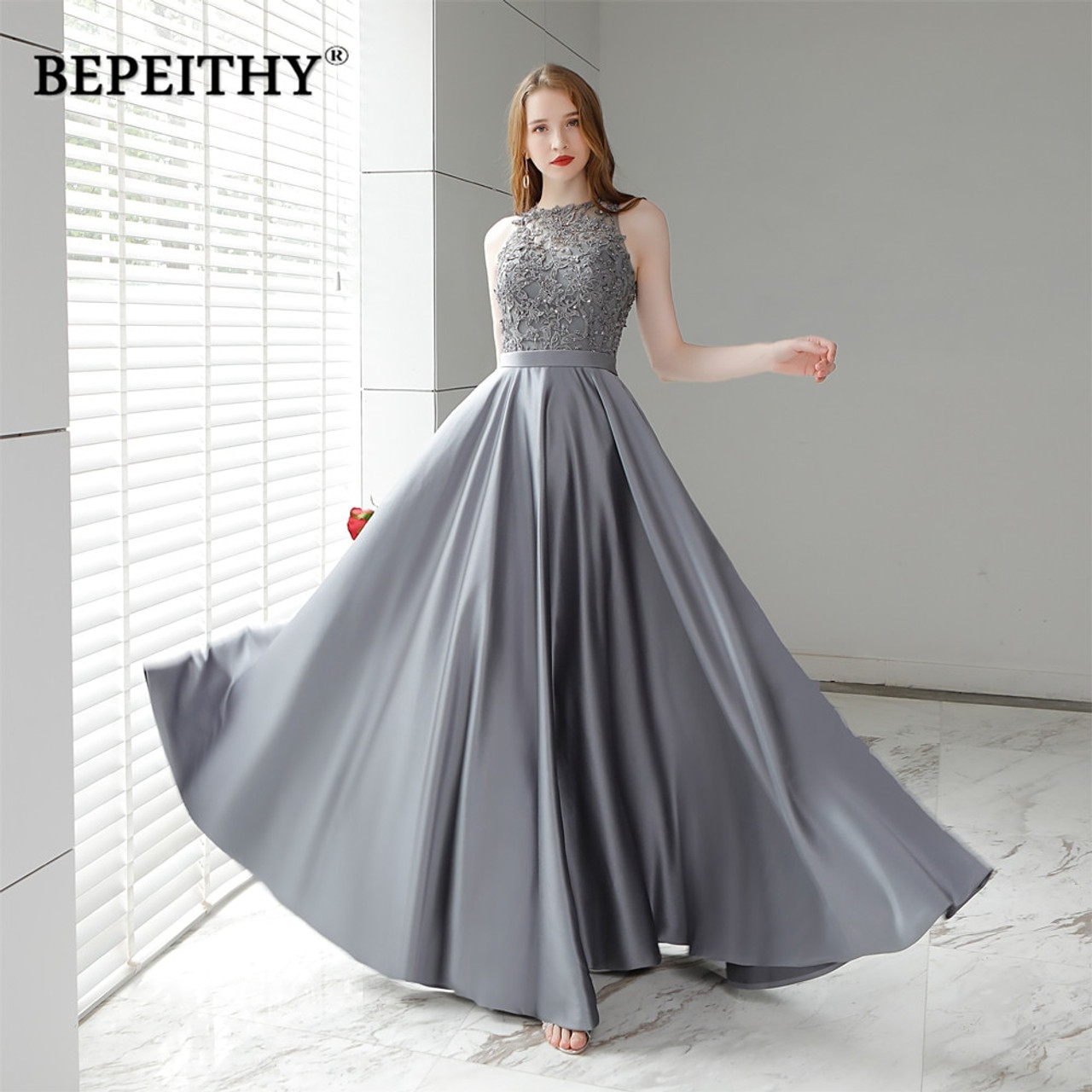 favorable price great prices coupon codes Vestido De Festa Gray Long Evening Dress 2018 O Neck Lace Top Vintage  Elegant Prom Party Dresses Abendkleider Hot Sale