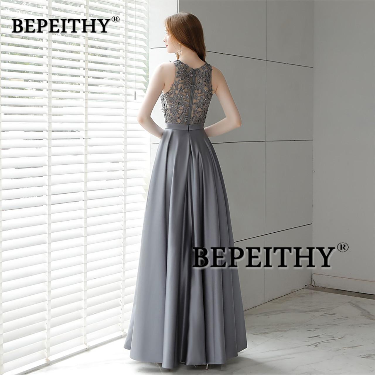 6861581c28546 Vestido De Festa Gray Long Evening Dress 2018 O Neck Lace Top Vintage  Elegant Prom Party Dresses Abendkleider Hot Sale