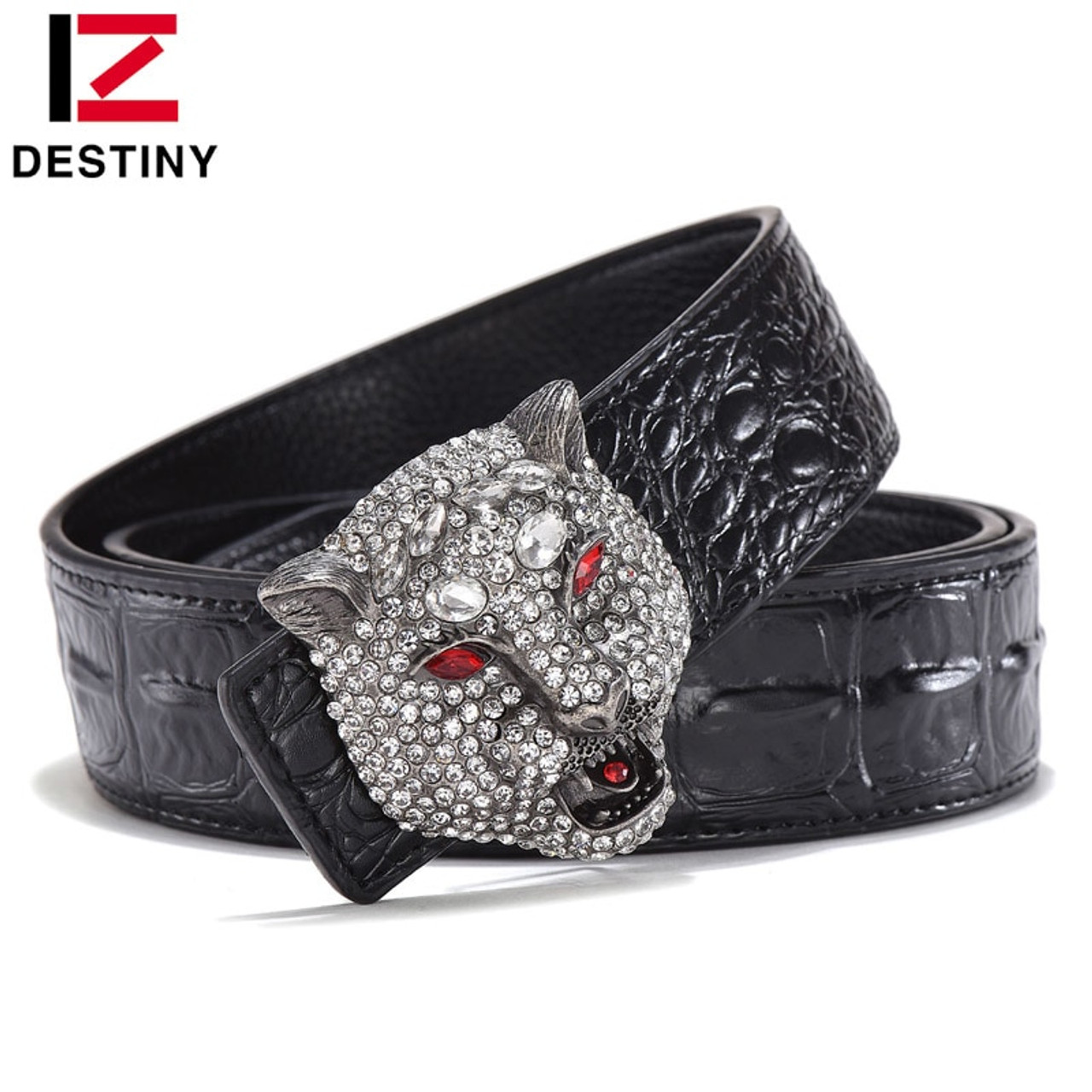 Mens Luxury Business Eagle Automatic Buckle Strap Dress Leather Waistband Belt T