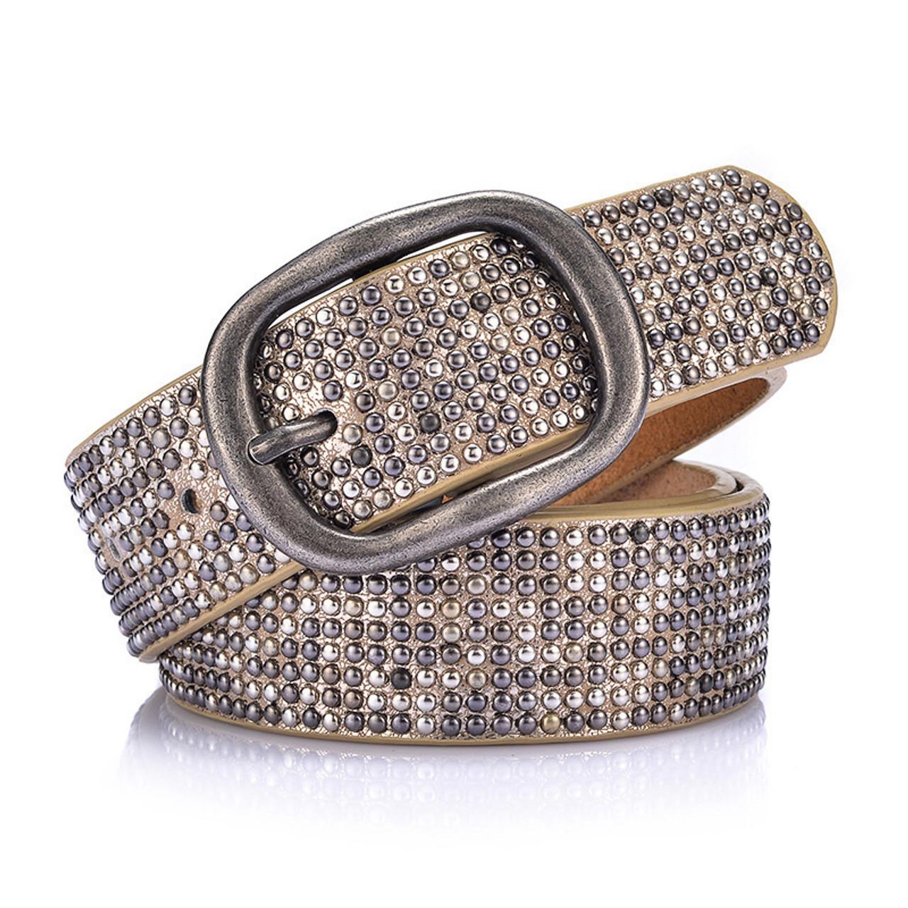 8ce5ccf2f54 2018 Rivet Genuine Cowskin Leather Belt Ladies Men Vintage Cowboy Belts  Steel Pin Buckle Waistband Punk Style Do old Women Belt
