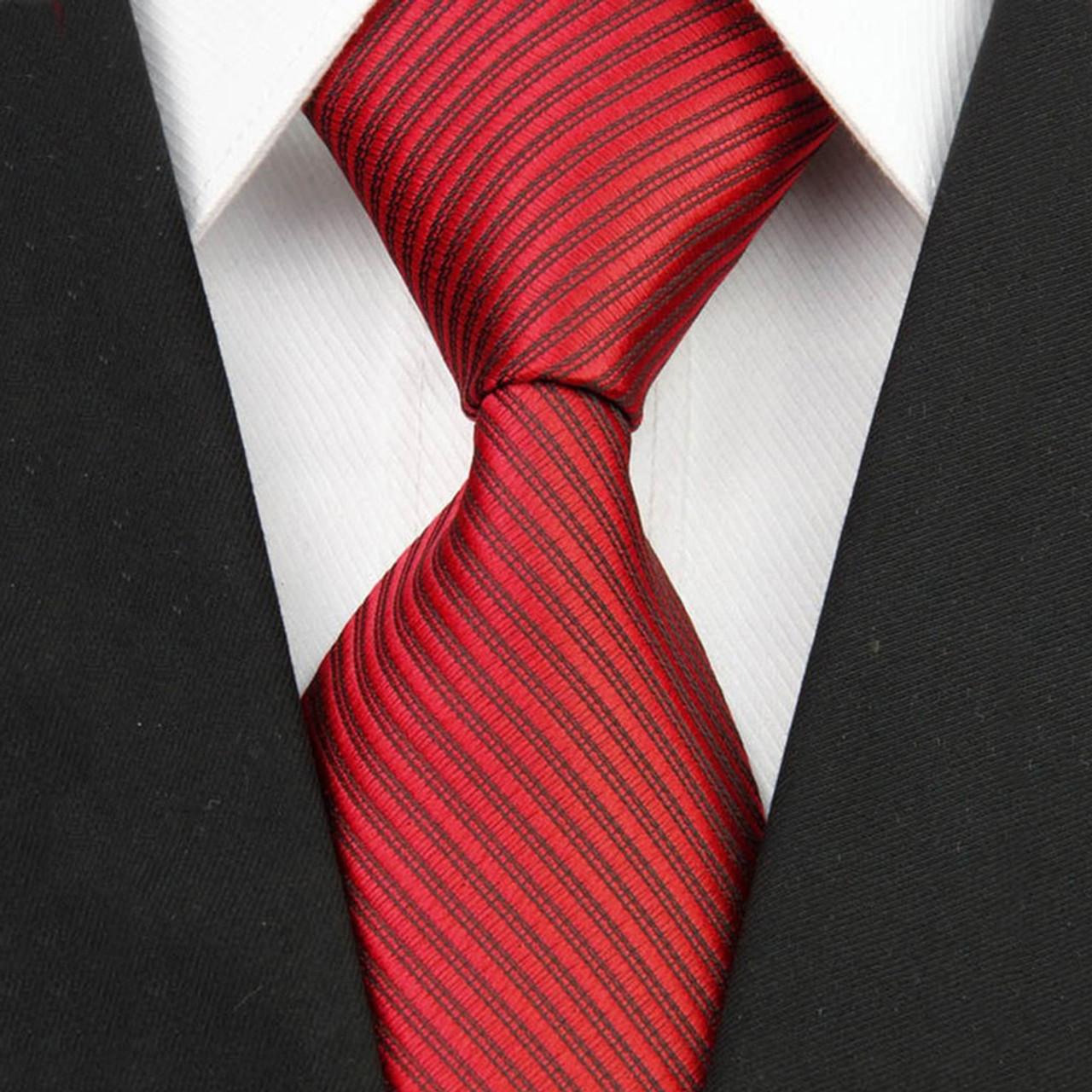 New Wide Silk Ties for Men Striped Solid 10cm Men's Neckties Business Red  Wedding Suit Neck Tie Black White Blue Gravatas - OnshopDeals.Com
