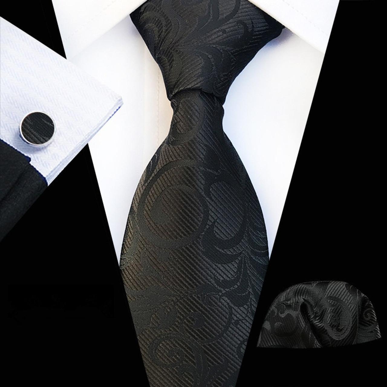 08065f562b85 ... Fashion New Design Tie Set Business Men's Silk Floral Print Ties Mens  Tie Set Dark Green