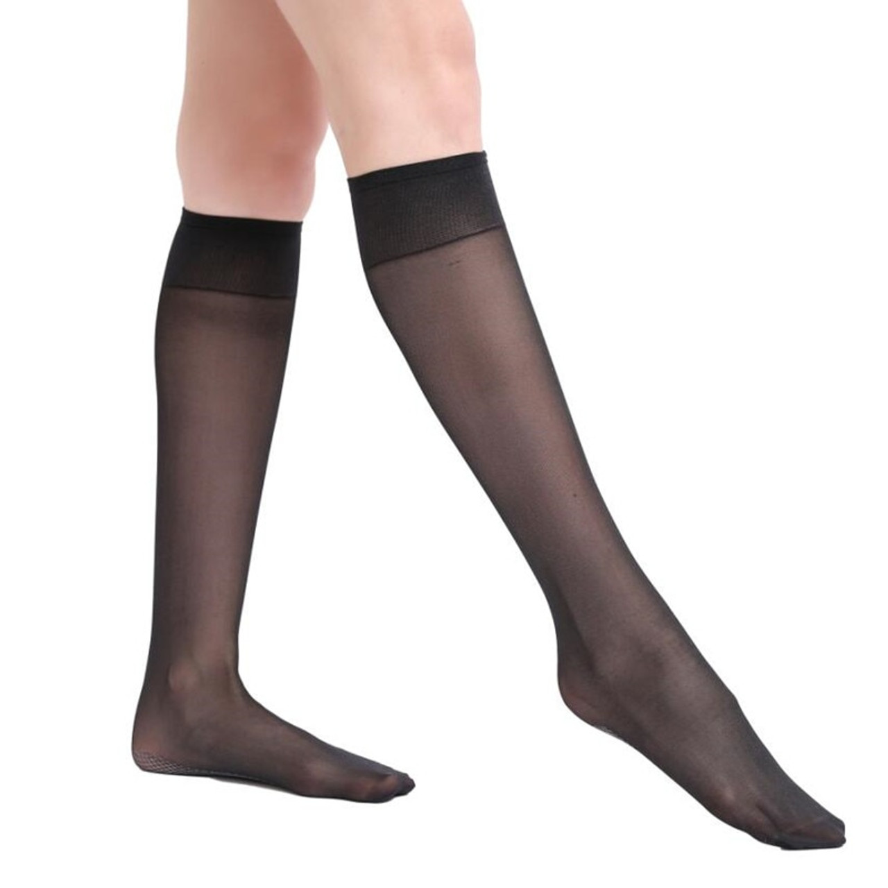 ecd5af839 ... 6 Pairs Lot 40D Women s Breathable Knee Highs Cotton Blend Sole Socks  Lady s 40D Sheer All ...