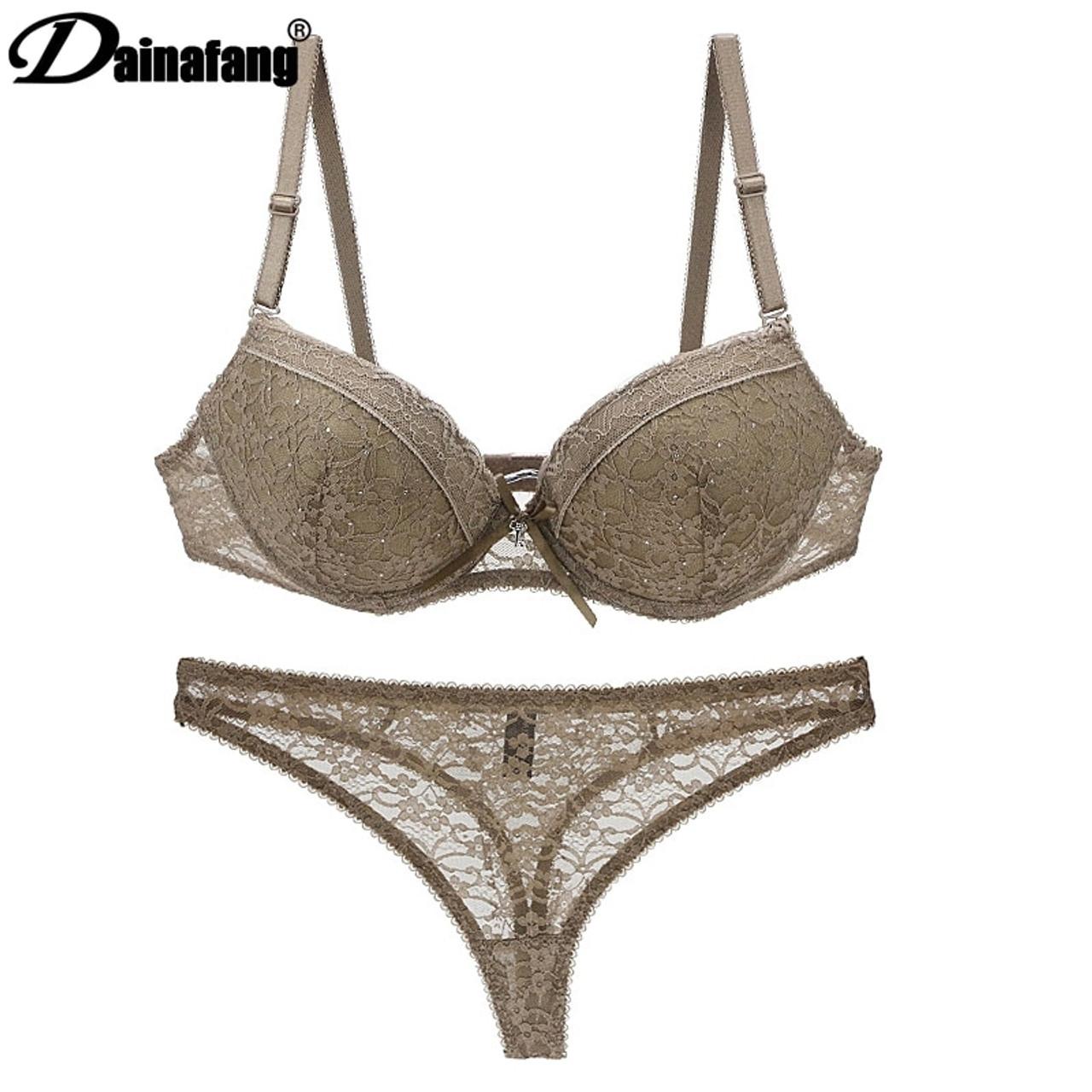 e0d4ea6248f0 ... Novelty 2019 Lace Drill Bra Set Women Plus Size Push Up Underwear Set  Bra And For ...