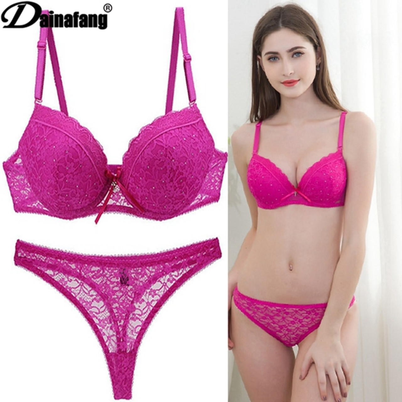 93c87dd8115c ... Novelty 2019 Lace Drill Bra Set Women Plus Size Push Up Underwear Set  Bra And For ...