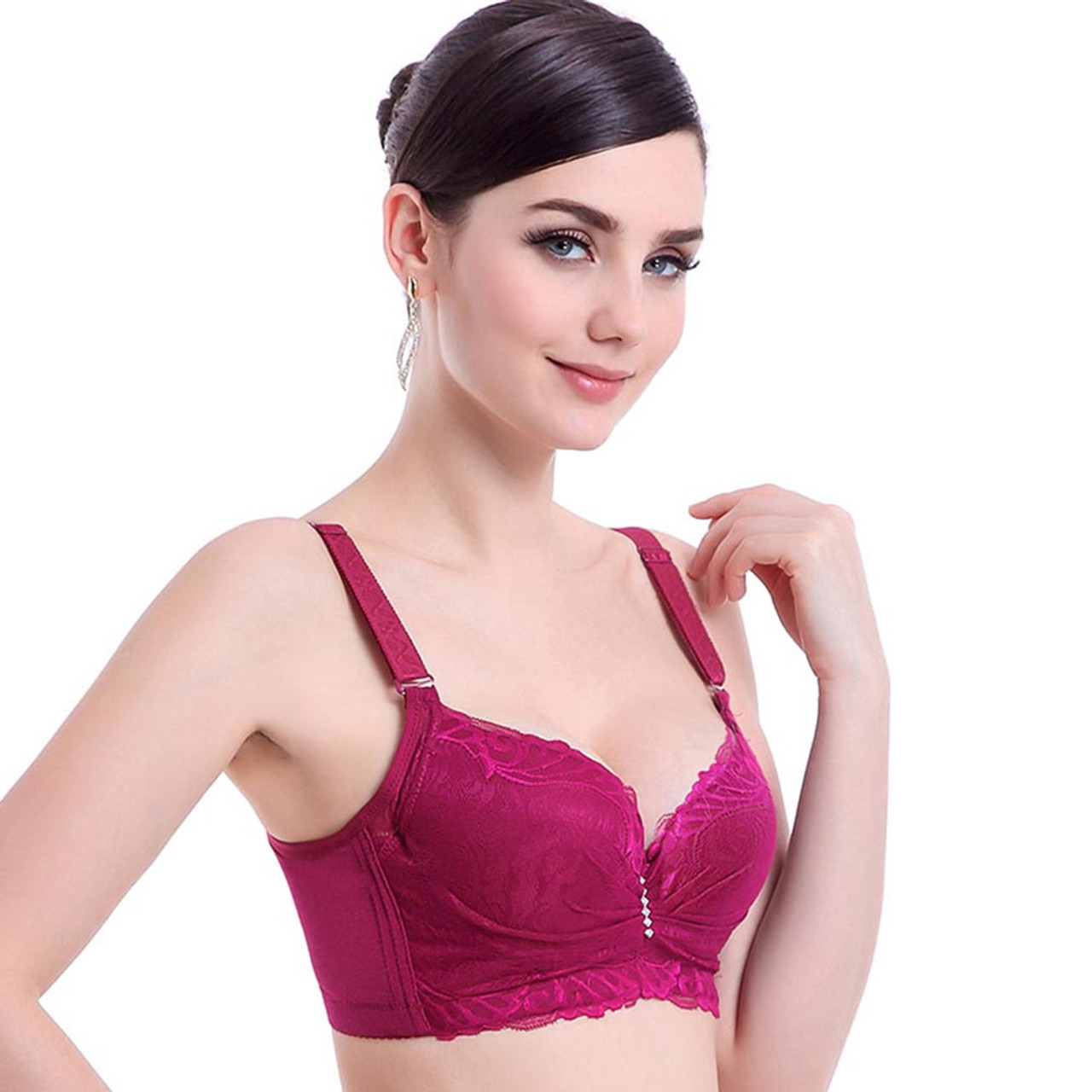d7687278ea8 ... Women Bra Push Up Sexy Lace Brassier Lntimates Ladies Big Size Bra  Underwear Embroidery Cotton Plus ...