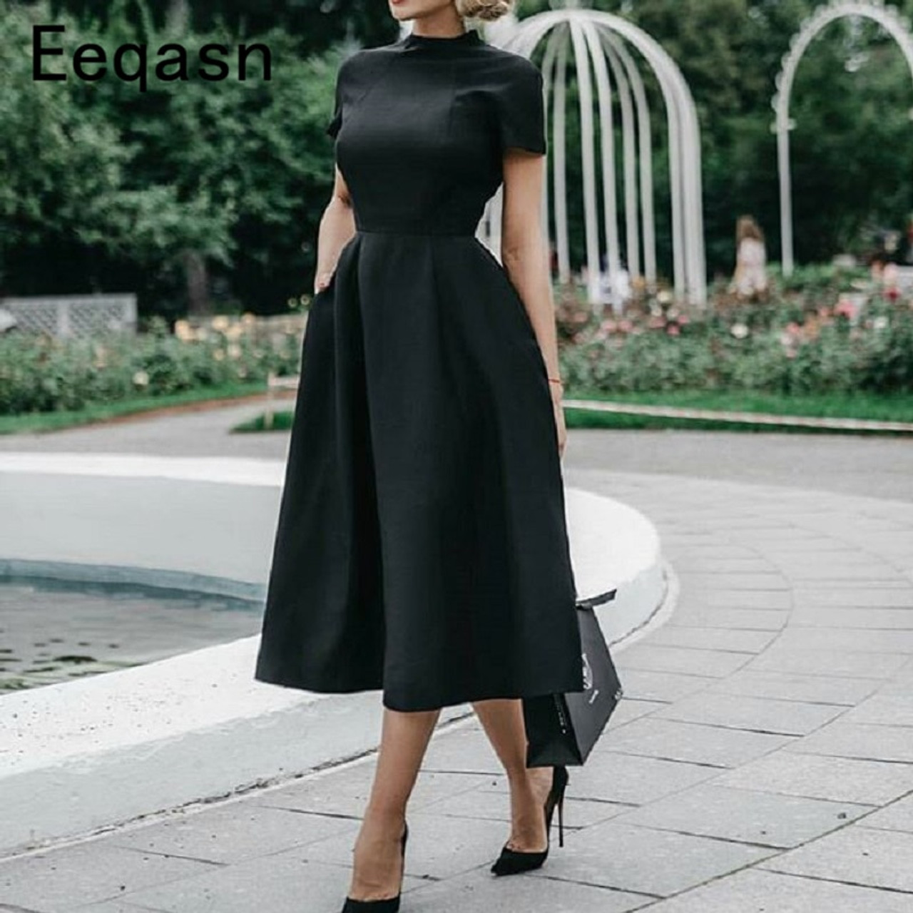Robe De Soriee New Black Cocktail Dresses Satin Short Sleeves Elegant Homecoming Graduation Prom Party Formal Gown Onshopdeals Com