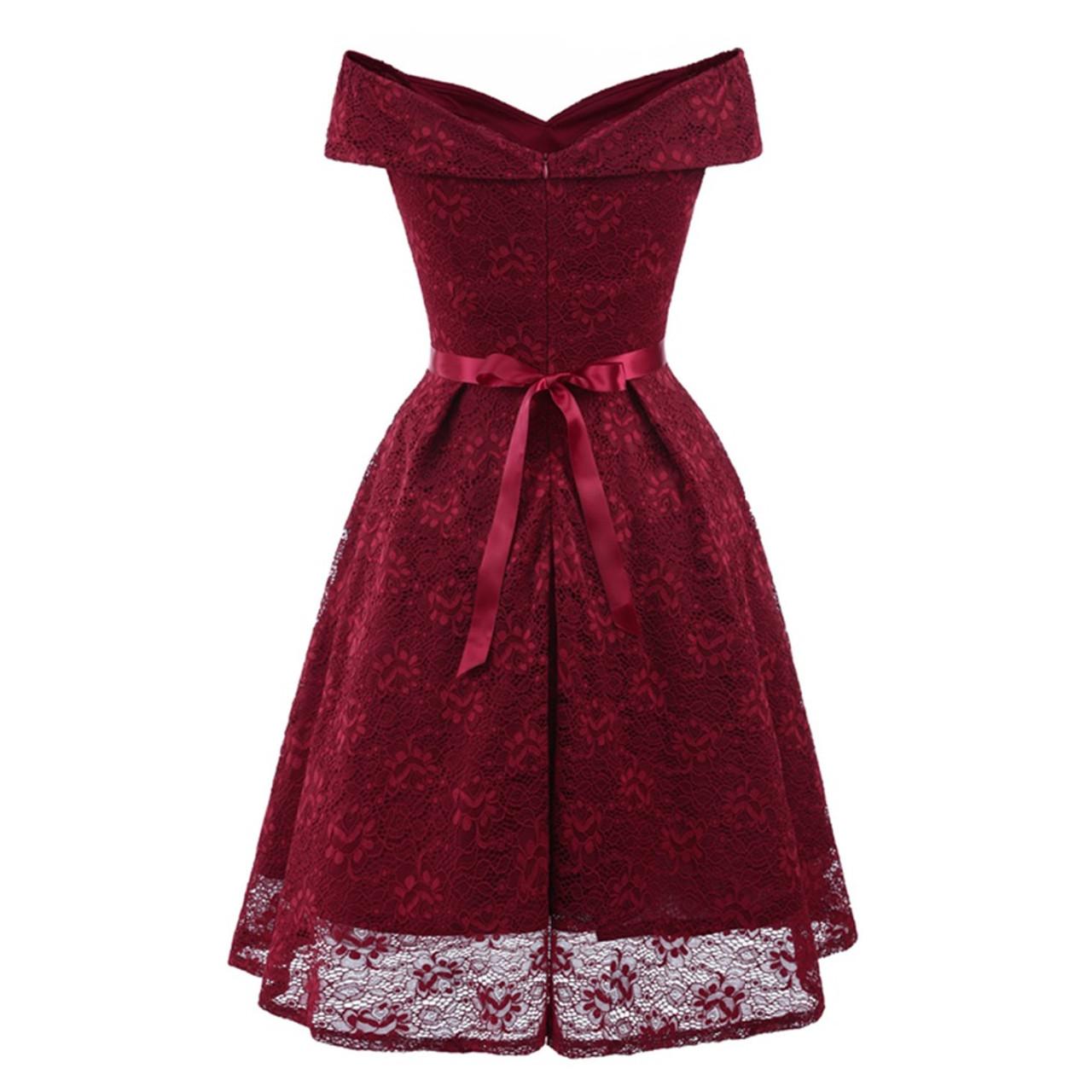 ... Robe Cocktail Party Dress 2018 Women Elegant A-Line Short Cocktail  Dresses Keen Length Burgundy ... 8e5d7d9bd