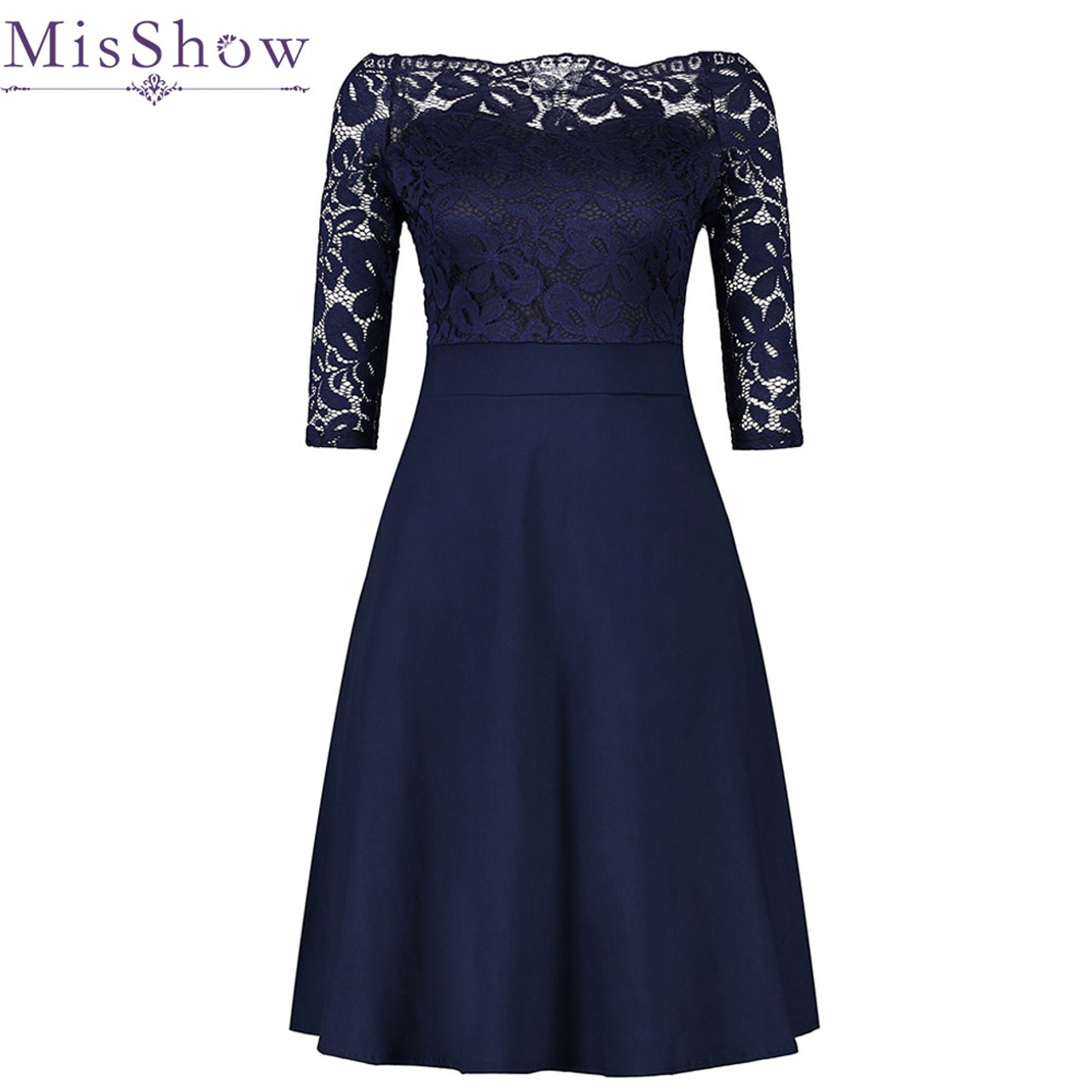 Cheap Navy Blue Cocktail Dresses Elegant Short Little Black Dress Lace Off  shoulder Formal Dresses Short Sleeve Satin Prom Gown - OnshopDeals.Com 24f7b7c35b7b