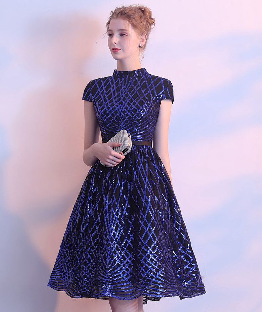 5f43567858230 Walk Beside You Black Cocktail Dress Royal Blue Sequined Bling Knee Length  Party High Neck A-line Short Party Formal Gowns
