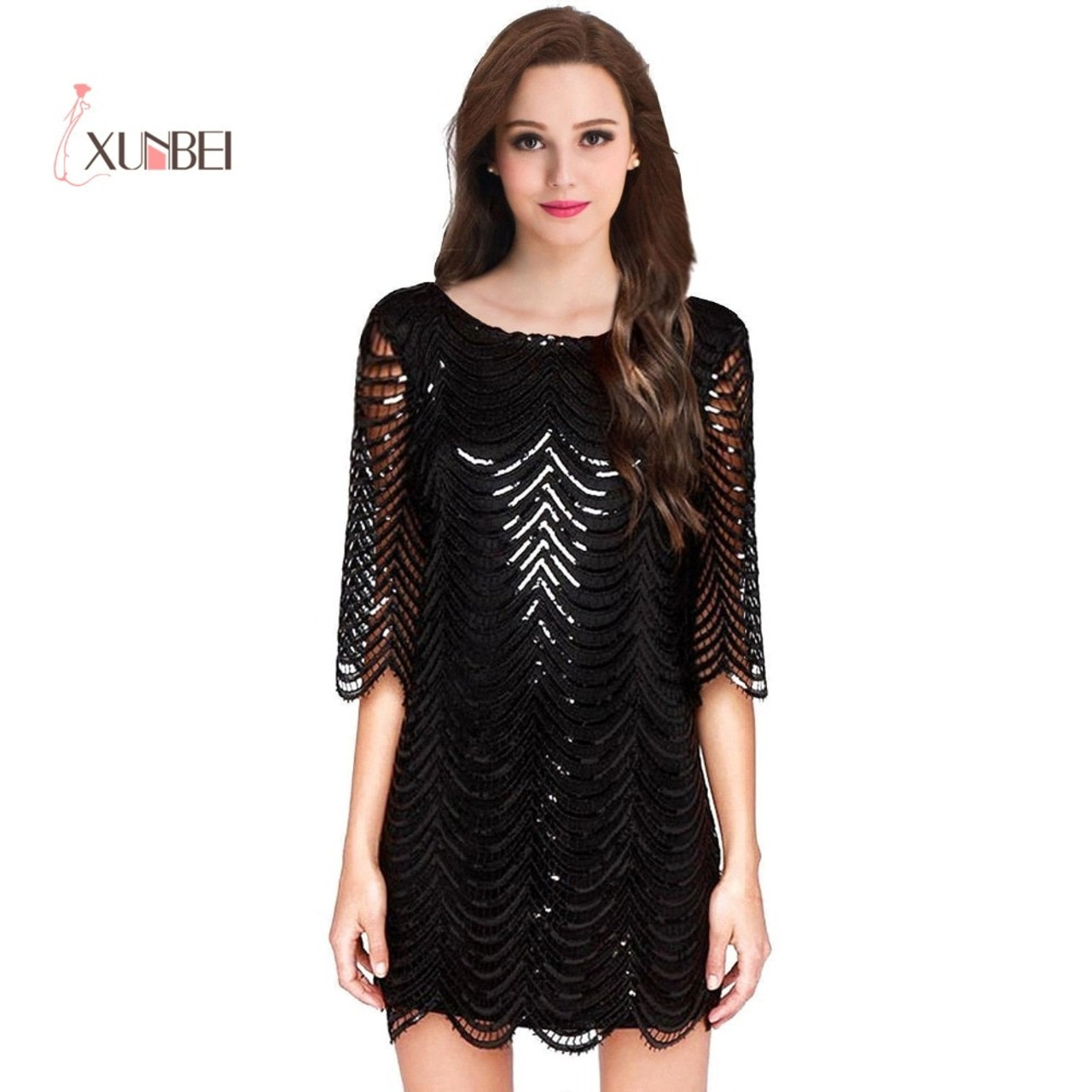 a4a862cdc7 ... Black 1/2 Long Sleeves Sequined Lace Robe Cocktail Dresses Mini Short  Straight Party Evening ...