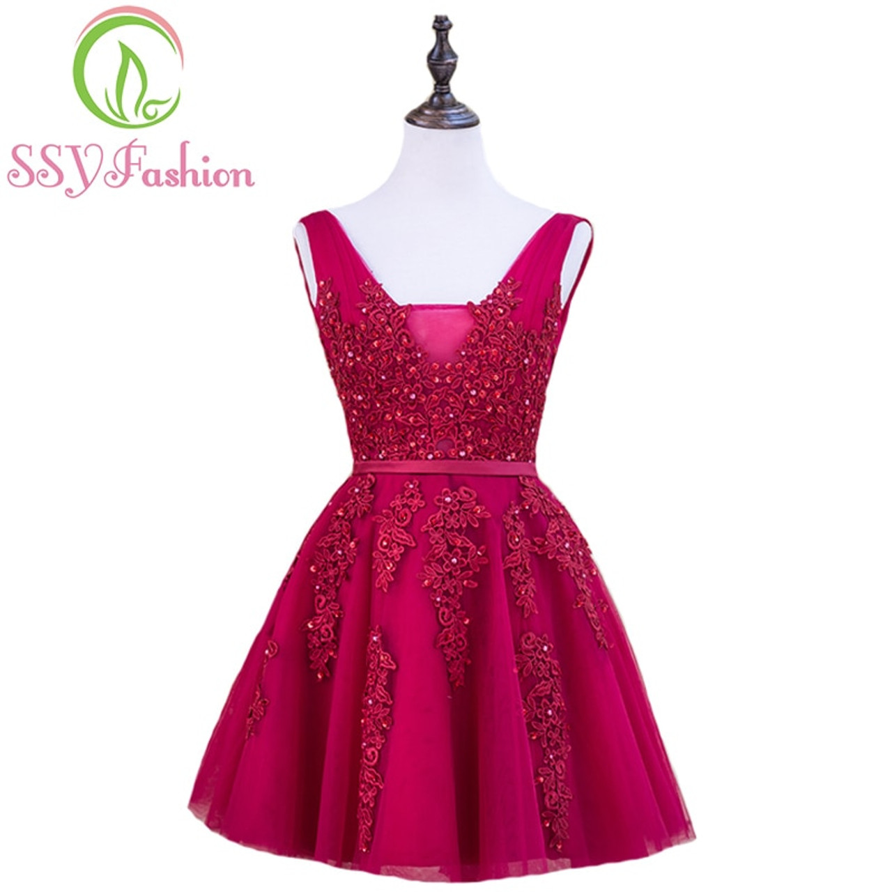 752553ab1f2 SSYFashion Sexy Short Cocktail Dresses Bridal Banquet Wine Red Lace  Backless Party Formal Dress Homecoming Dress ...