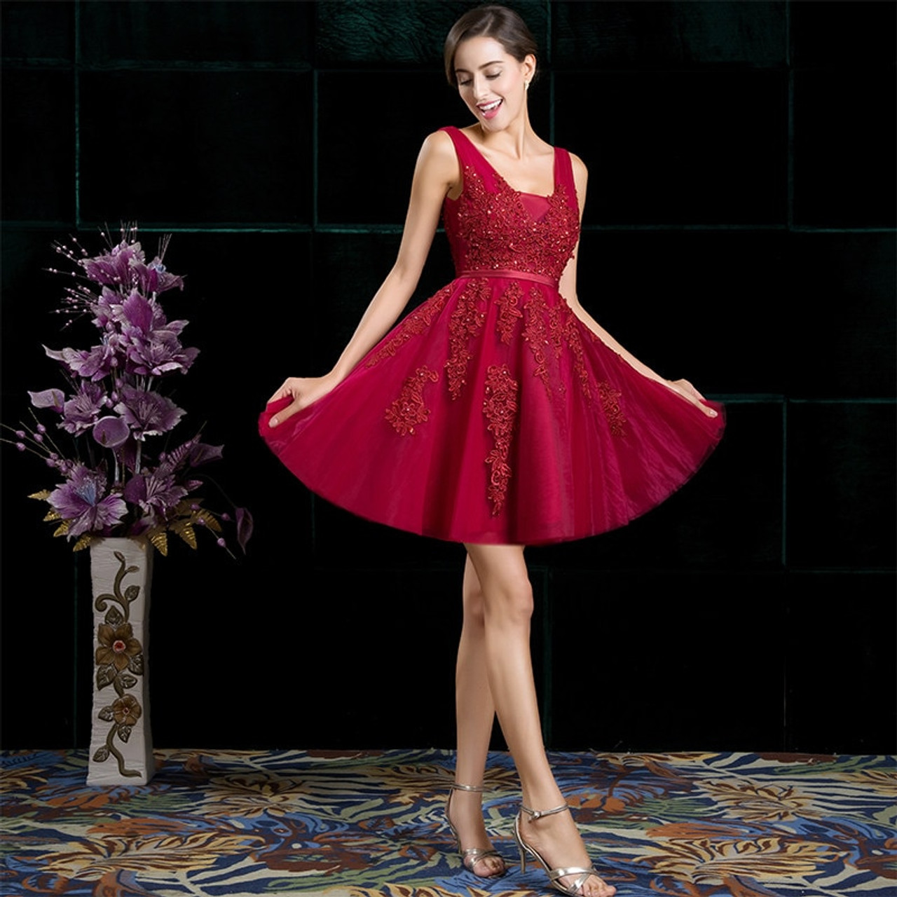 eb0171acfbc ... SSYFashion Sexy Short Cocktail Dresses Bridal Banquet Wine Red Lace  Backless Party Formal Dress Homecoming Dress ...