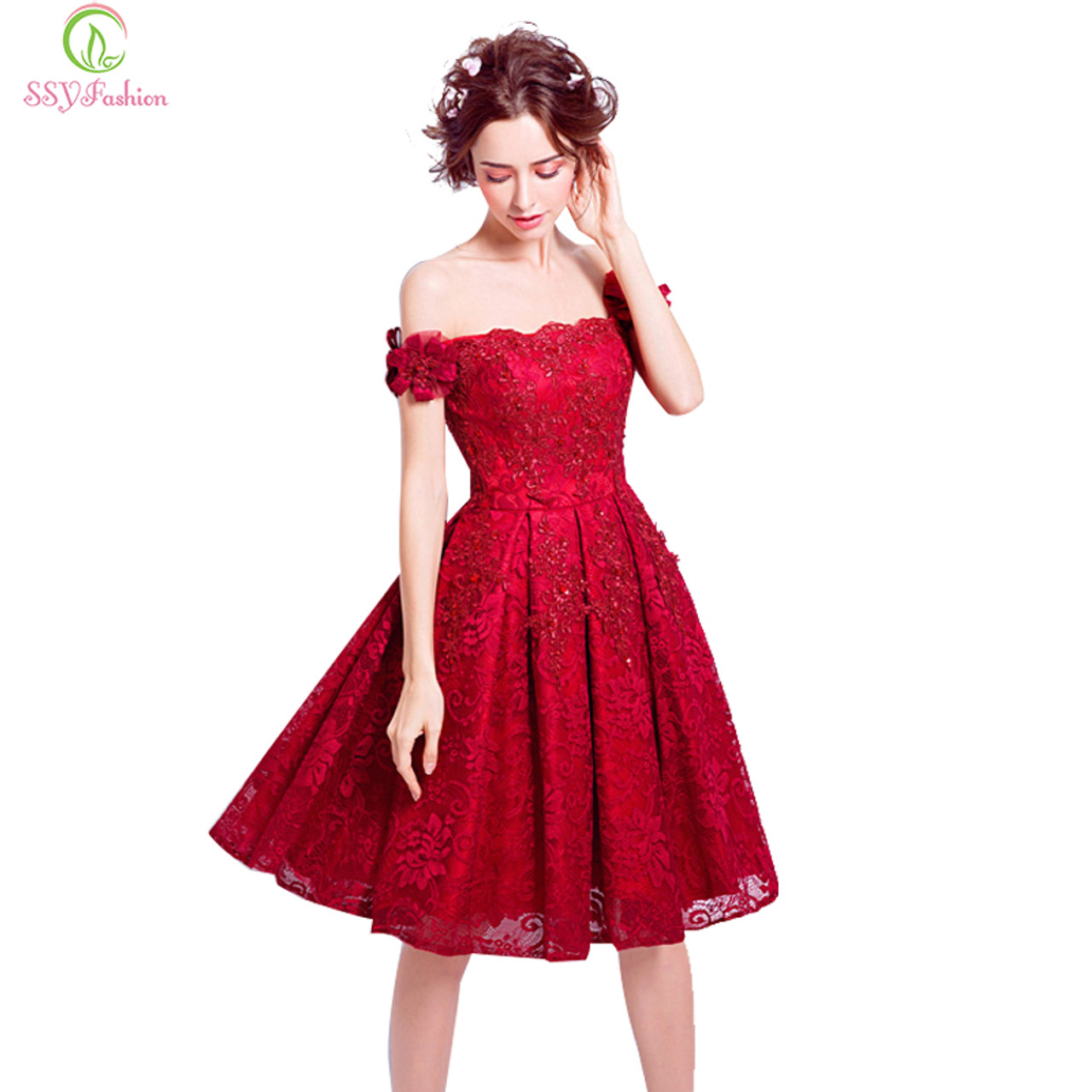 062c0b93503d9 SSYFashion New Red Lace Flower Short Cocktail Dress The Bride Married  Banquet Embroidery Boat Neck Knee ...