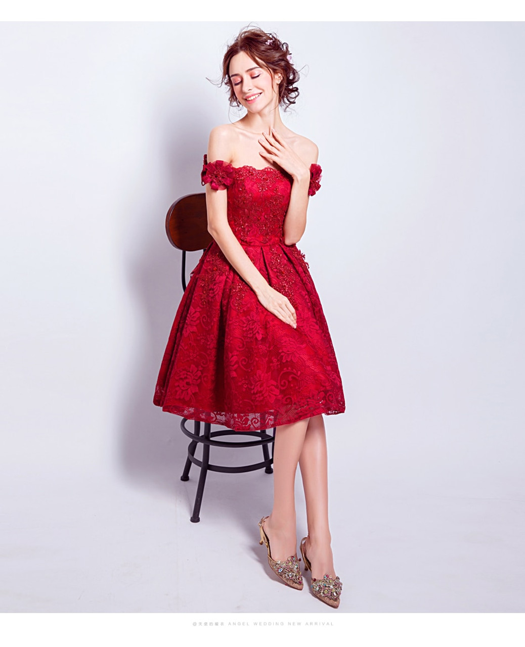 4256452dc34e7 ... SSYFashion New Red Lace Flower Short Cocktail Dress The Bride Married  Banquet Embroidery Boat Neck Knee ...