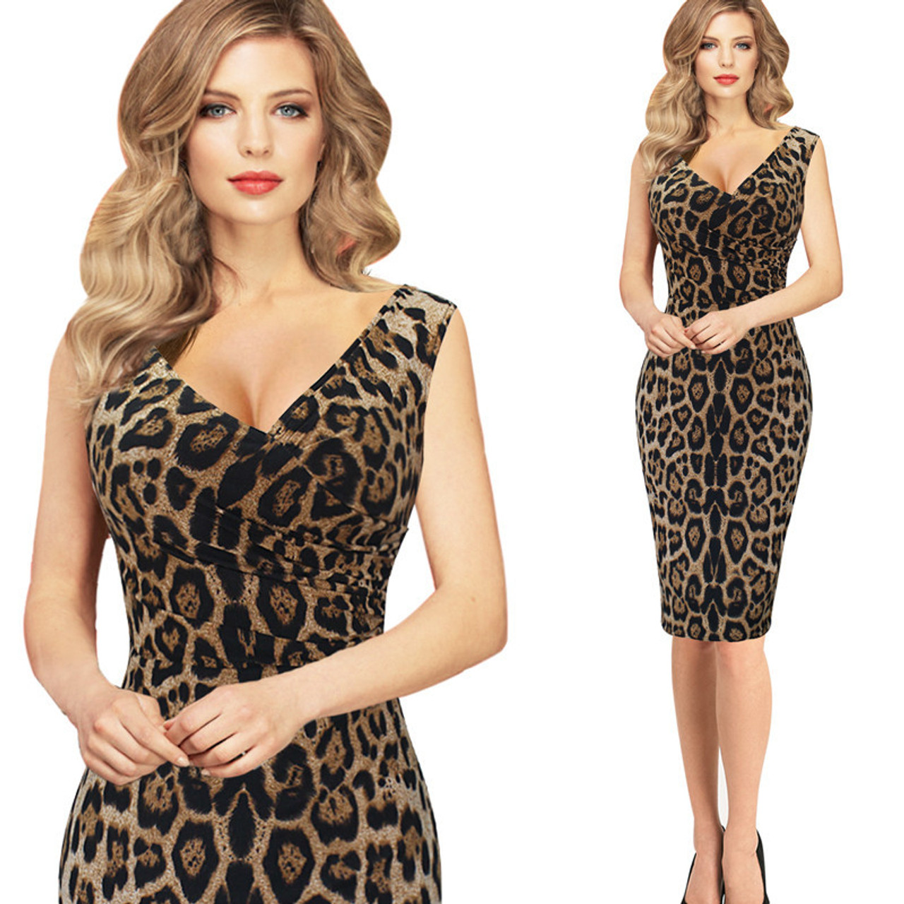 e2b641f515 2017 Summer Hottest Women s Sexy Leopard Print Dress V Collar Sleeveless  Waist Ruched Tank Night Club Party Tight Dress - OnshopDeals.Com