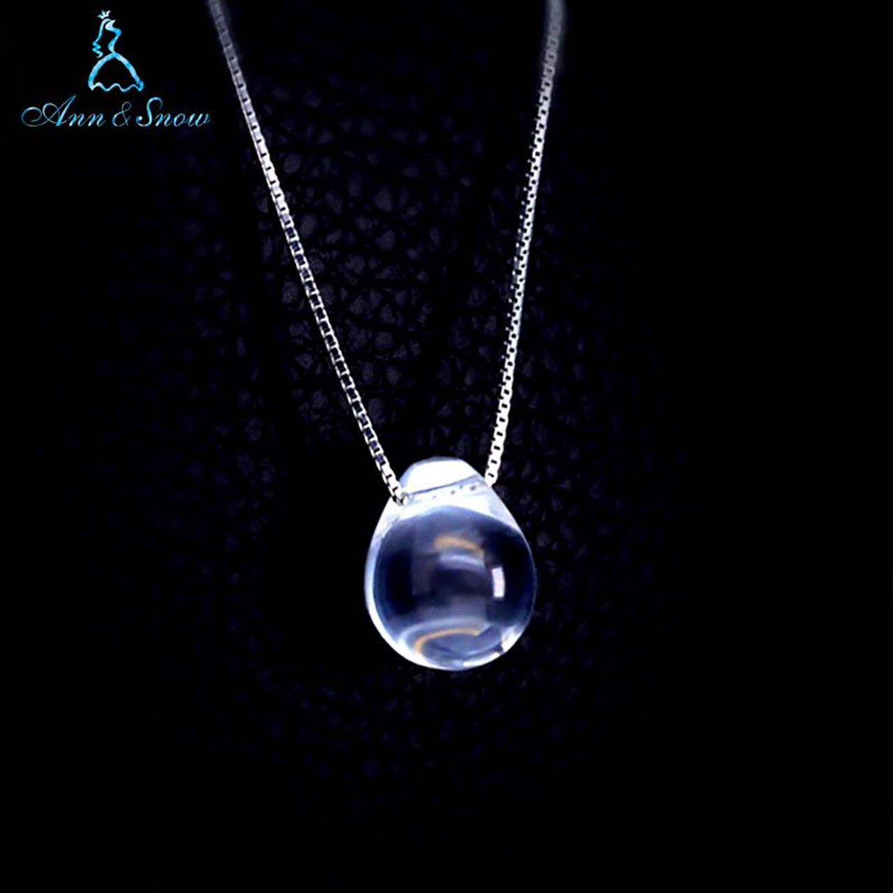 064c11ce9 925 Sterling Silver Original Silver Tear 18 inches Party Girls Gift  WaterDrop Clear Crystal Pendant Necklaces ...