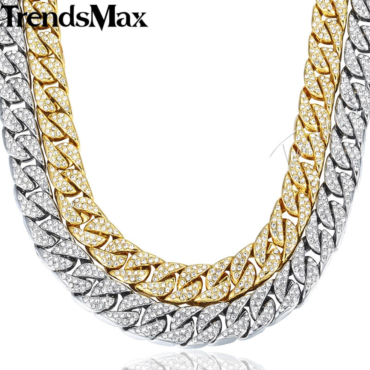 14mm Miami Curb Cuban Chain Necklace For Men Gold Silver Hip Hop Iced Out  Paved Rhinestones CZ Rapper Necklace Jewelry GN432 - OnshopDeals.Com 523616ca2