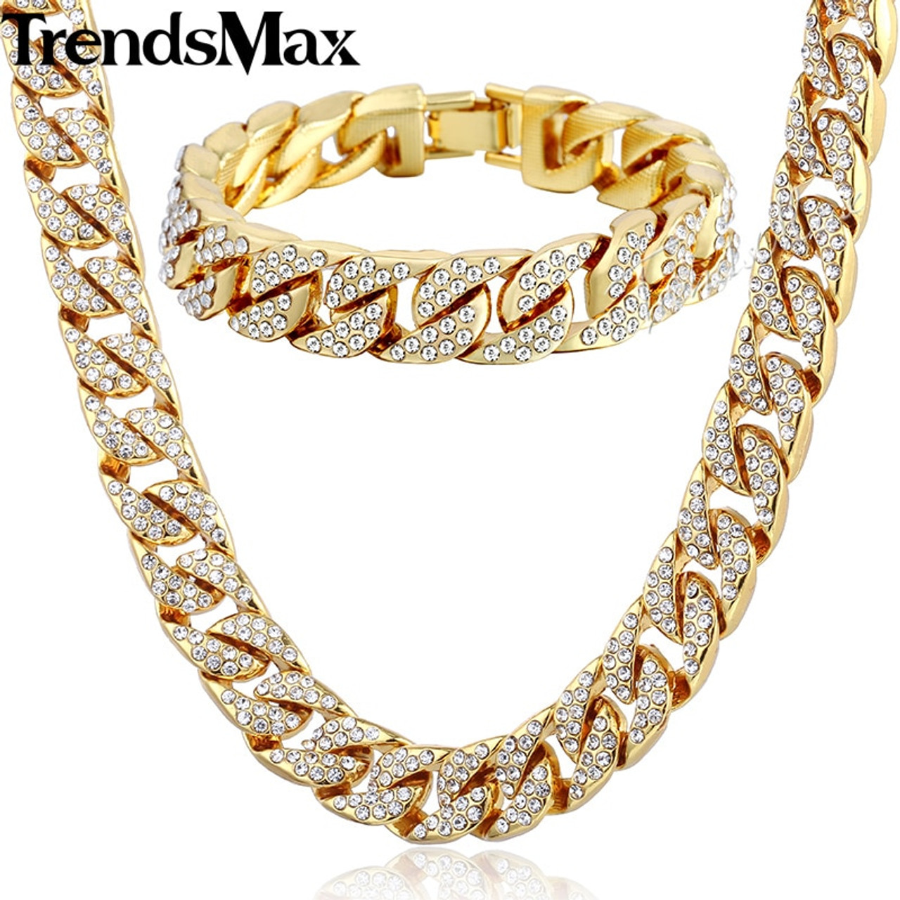 18575481bb Trendsmax Hiphop Miami Curb Cuban Womens Mens Necklace Bracelet Jewelry Set  Bling Iced Out Gold Silver Color 14mm GS259