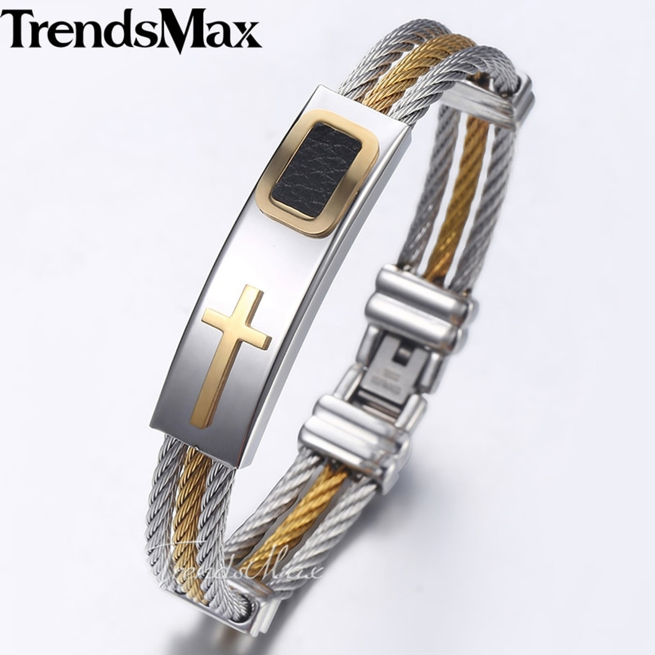 dde709d05b329 Trendsmax Men s Bracelet Bangle Cross ID Charm Stainless Steel 3 Strands Rope  Wristband Wholesale Dropshipping Jewelry ...
