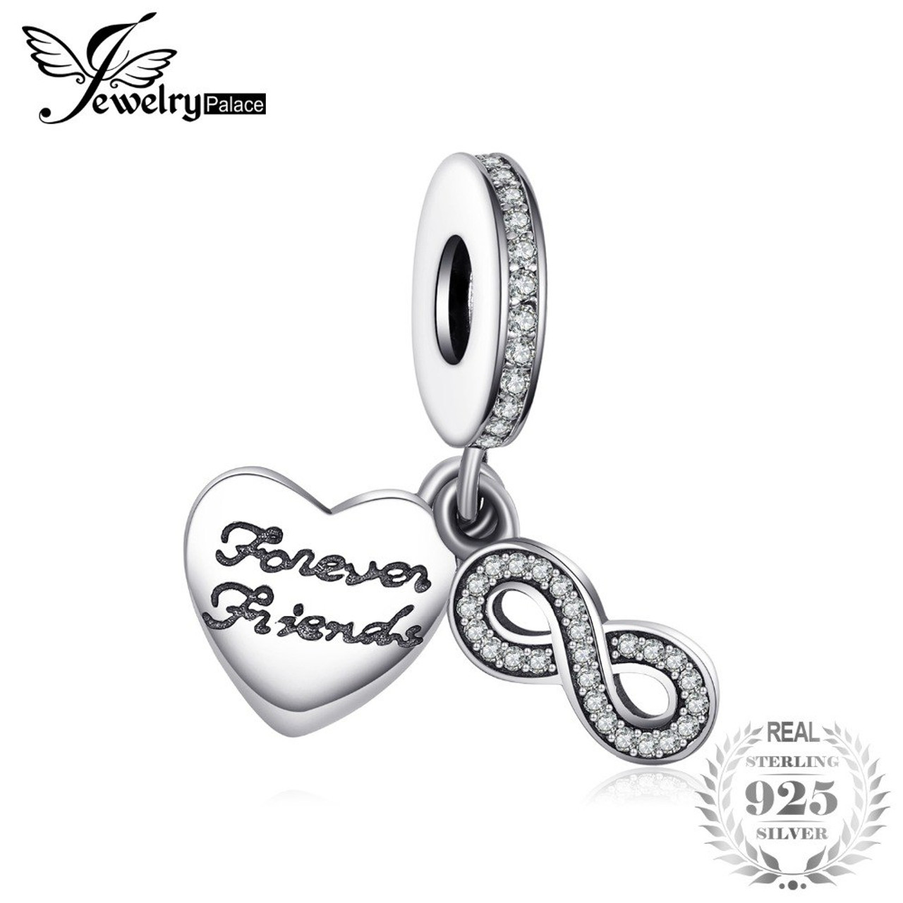 53ad0a8e44c8 Jewelrypalace 925 Sterling Silver Infinity Friendship Cubic Zirconia Charm Bracelets  Gifts For Women Trendy Jewelry Nice ...