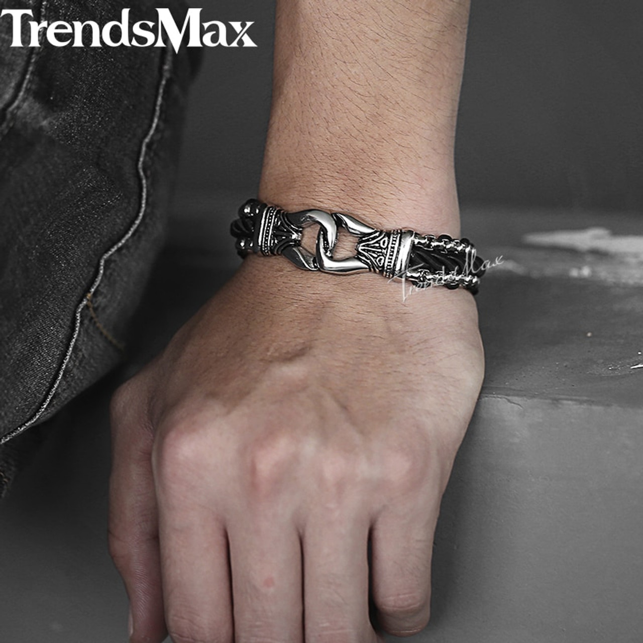 Trendsmax Men's Bracelets Black Leather Strand Stainless Steel Knot  Bracelet For Male Jewelry Dropshipping Wholesale 13mm KHB496