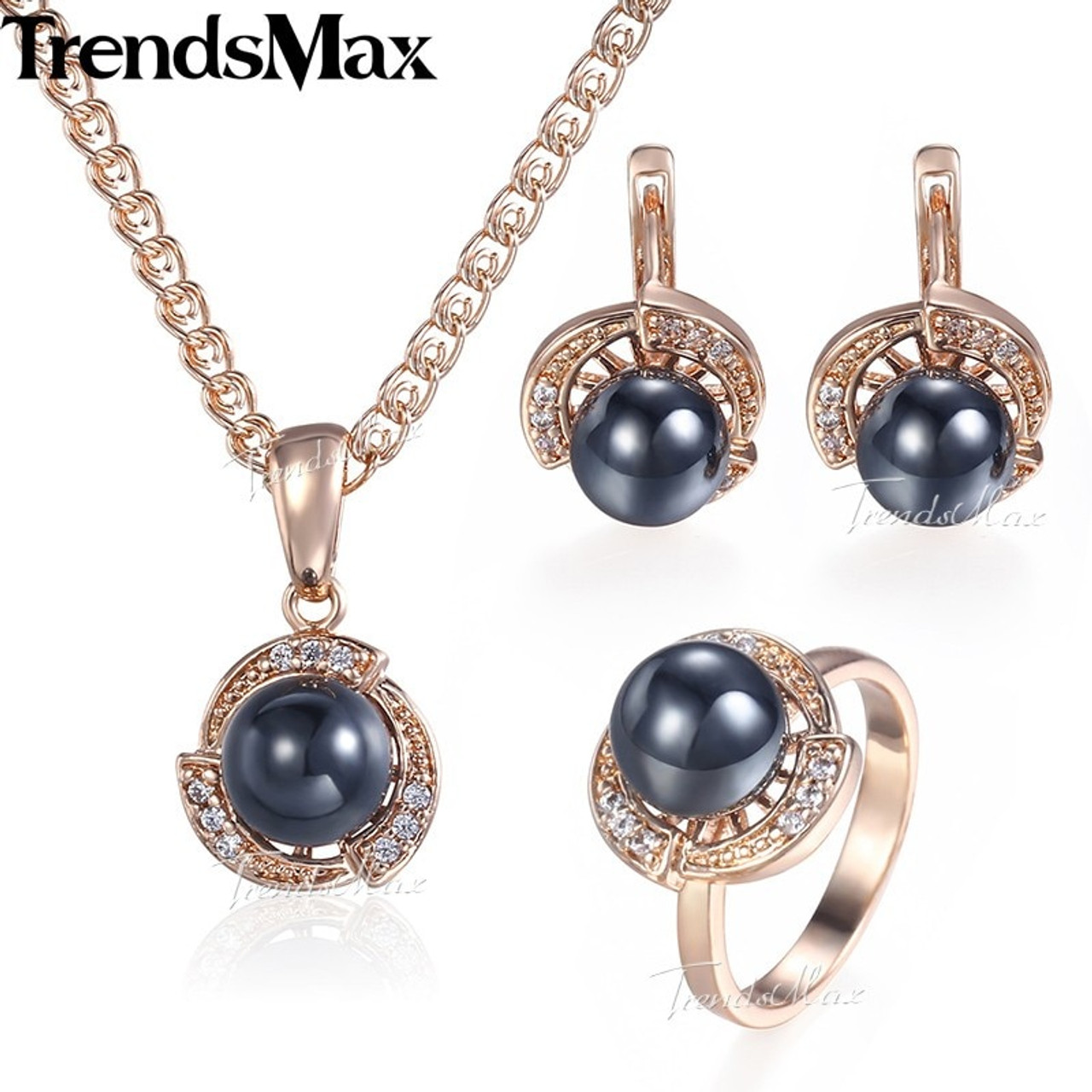 Pearl Jewelry Set 925 Silver Plated Earrings Necklace Ring Women Wedding Bridal