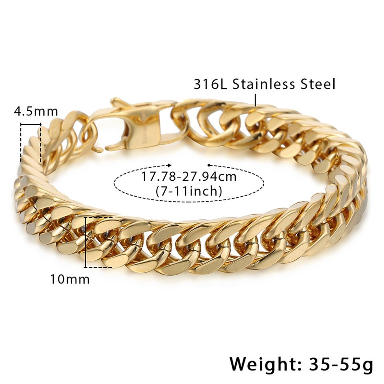 Men's Bracelets Gold Black Double Curb Chain 316L Stainless Steel Bracelet  For Male Jewelry Dropshipping Wholesale 10mm KHB413
