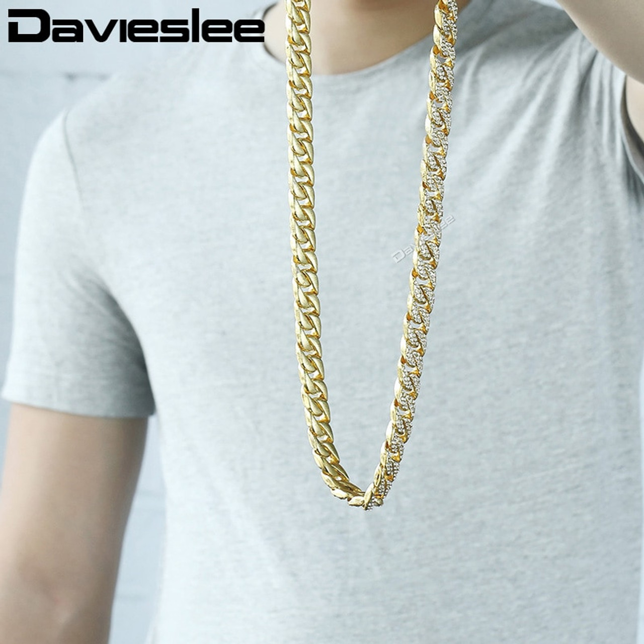 Davieslee Men's Gold Necklace Miami Curb Cuban Chain Necklaces For Men Iced  Out Hip Hop Woman Jewelry Dropshipping 14mm DGN455