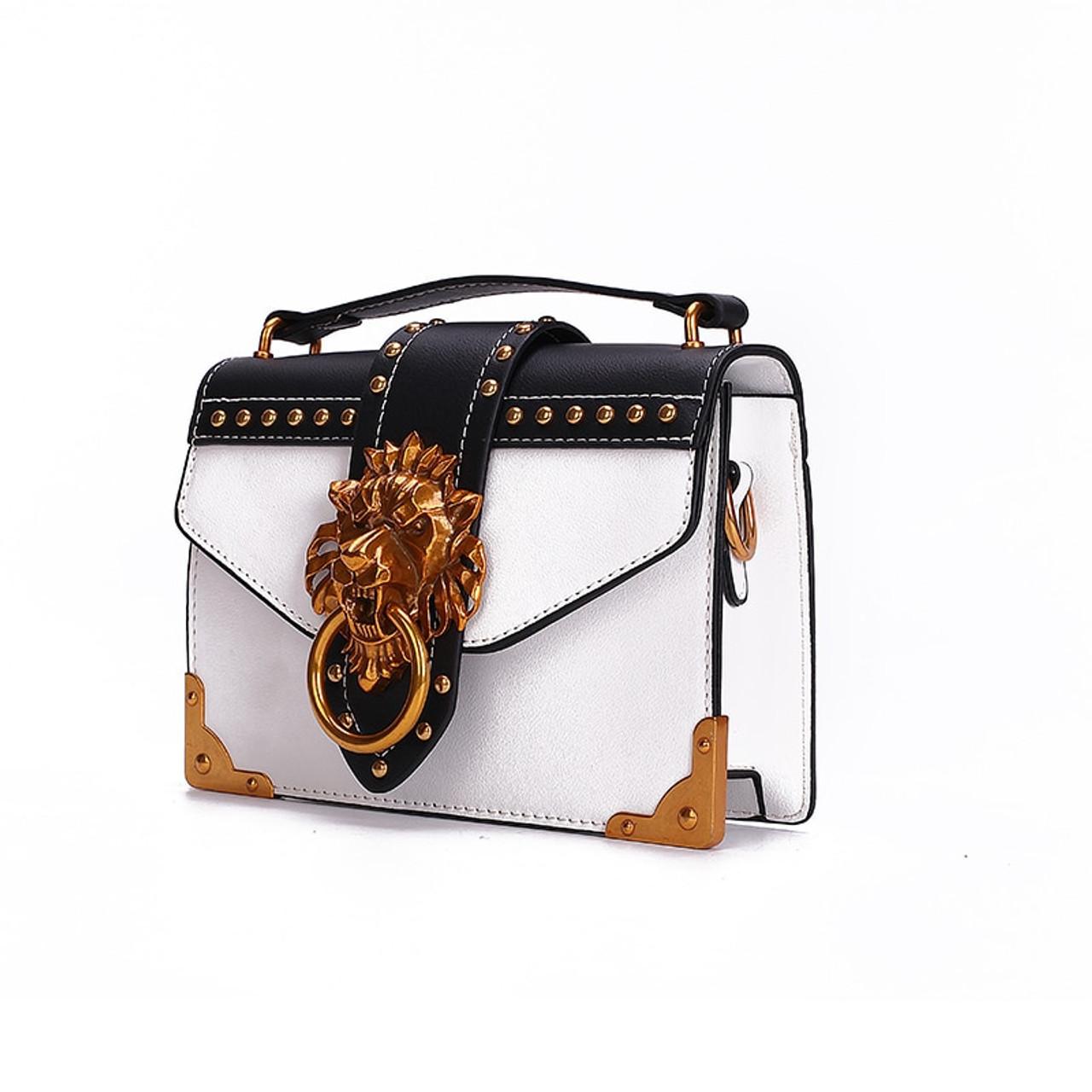 Women/'s Metal Lion Head Square Shoulder Bags Crossbody Package Clutch Messenger