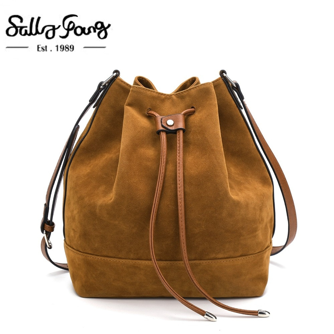 00198d45bc42 Newest Brown Bucket Women Shoulder Bag Faux Suede Famous Brand Designer  Handbags Ladies Bags Female Crossbody Bags