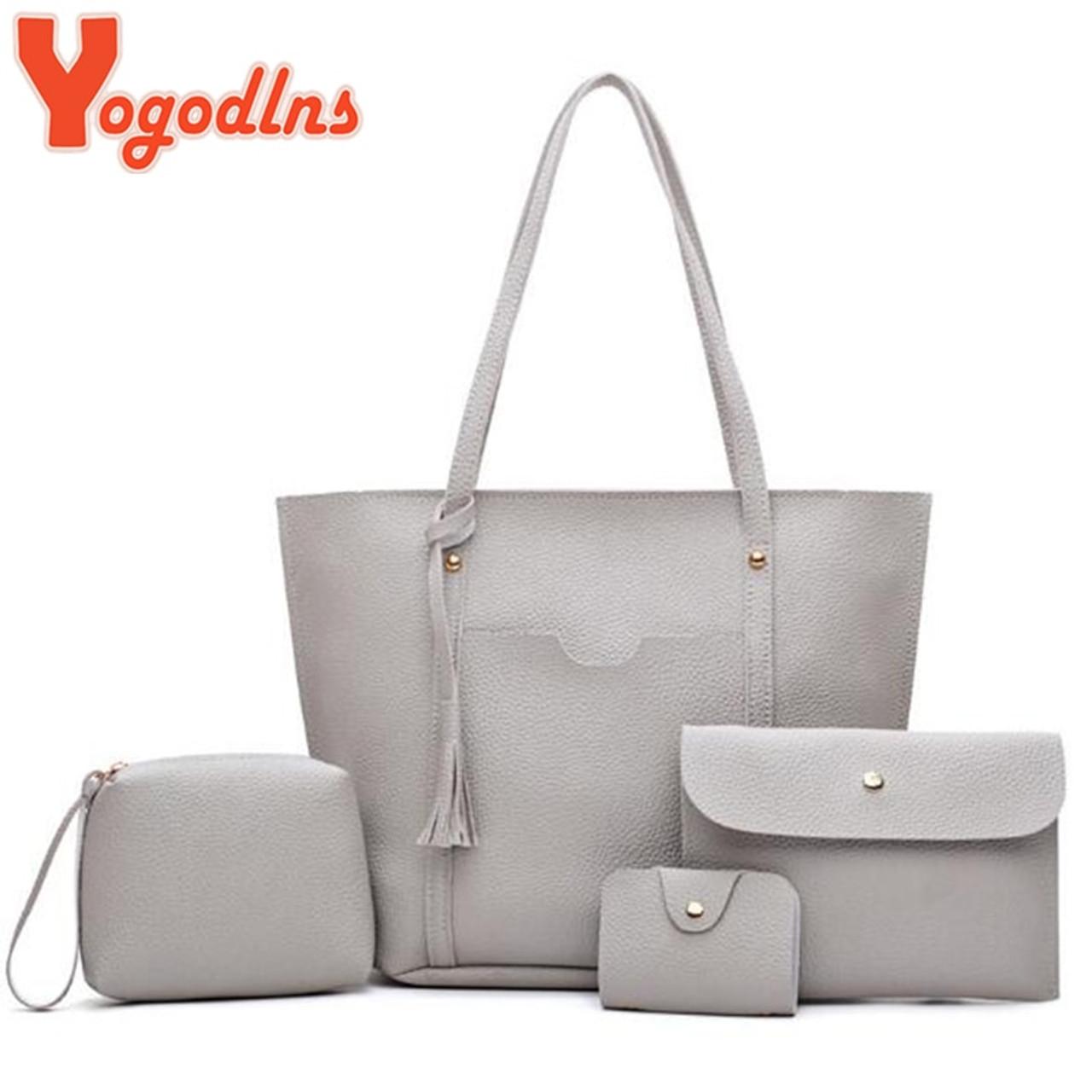 a218c4840583 Yogodlns brand 4 pcs set handbag women composite bag female large capacity  tote bag fashion shoulder ...