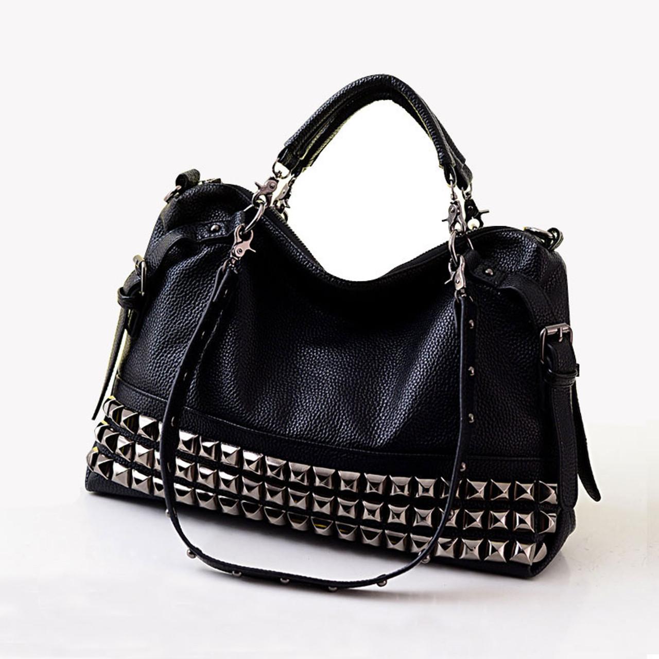 Rivet women s genuine leather fashion handbag motorcycle bag rivet  all-match handbag one shoulder cross-body big bag A4 - OnshopDeals.Com 8023f1074edea