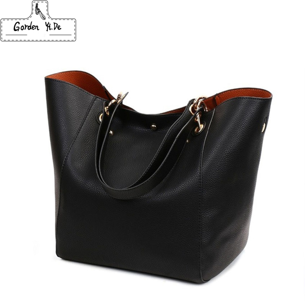 215a1d3bfd32 Genuine leather Women handbags 2019 New Design Women Bucket Bags Vintage Large  Female Shoulder Bags bolsa ...