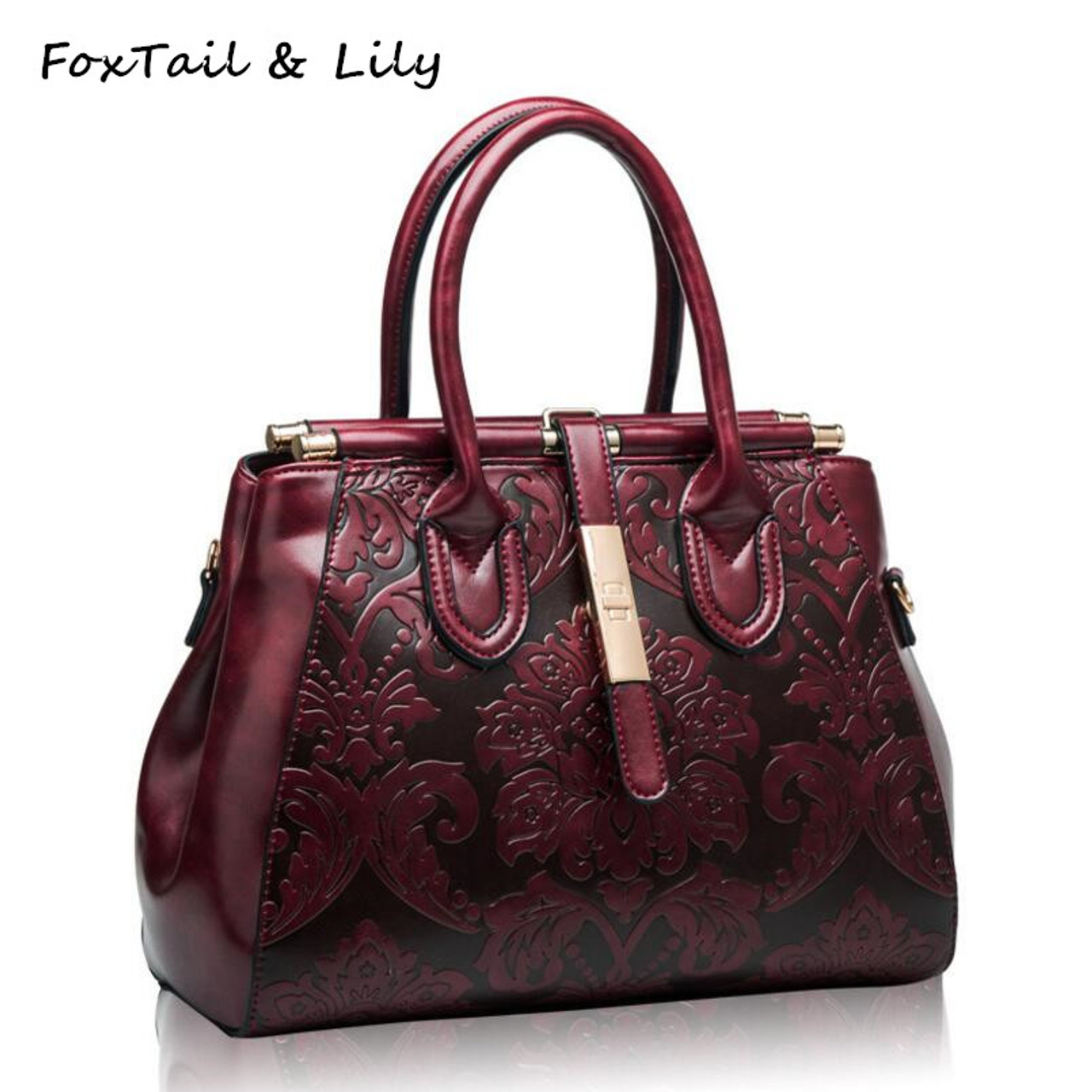 be1be9832199 FoxTail  amp  Lily Chinese Style Vintage Shoulder Bags Women Genuine Leather  Embossed Handbags Elegant Ladies ...