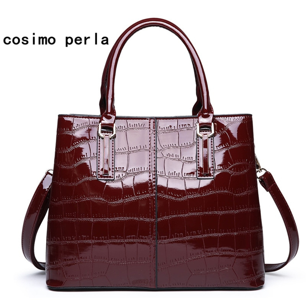 896084c686 European Fashion Patent Leather Tote Bag 2019 Winter New Dress Women  Shoulder Crossbody Bags Large Alligator ...