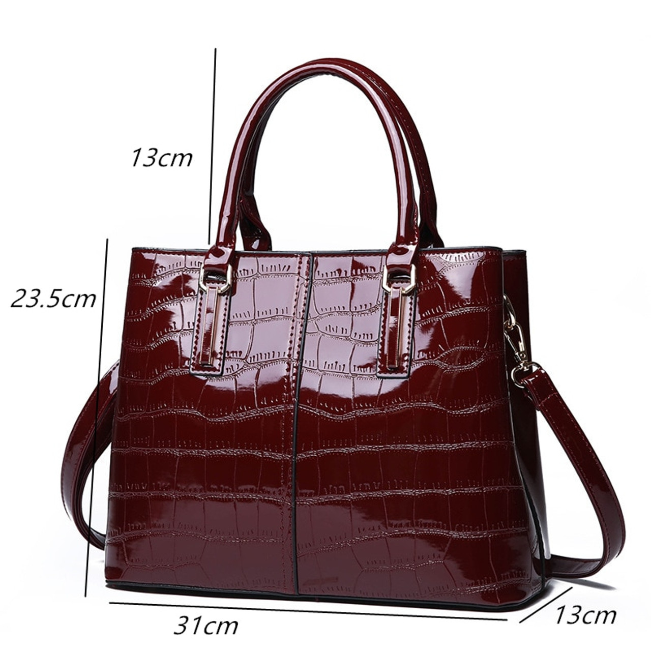 856090afea ... European Fashion Patent Leather Tote Bag 2019 Winter New Dress Women  Shoulder Crossbody Bags Large Alligator ...